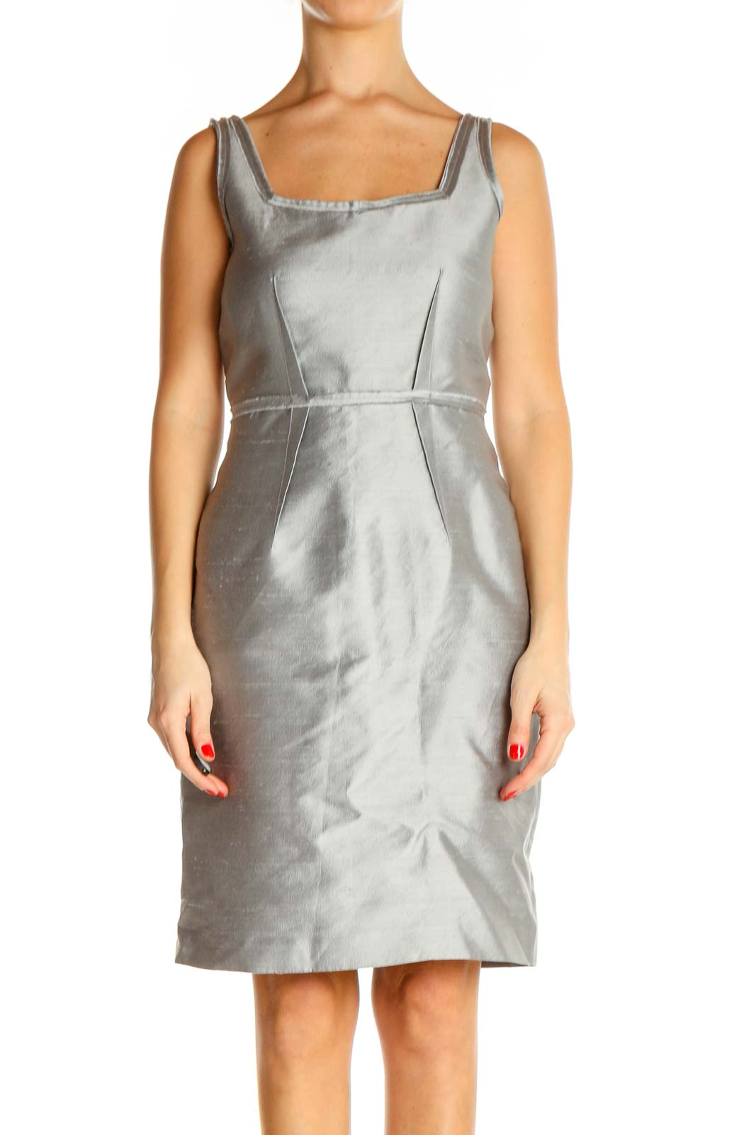 Gray Solid Cocktail Sheath Dress Front