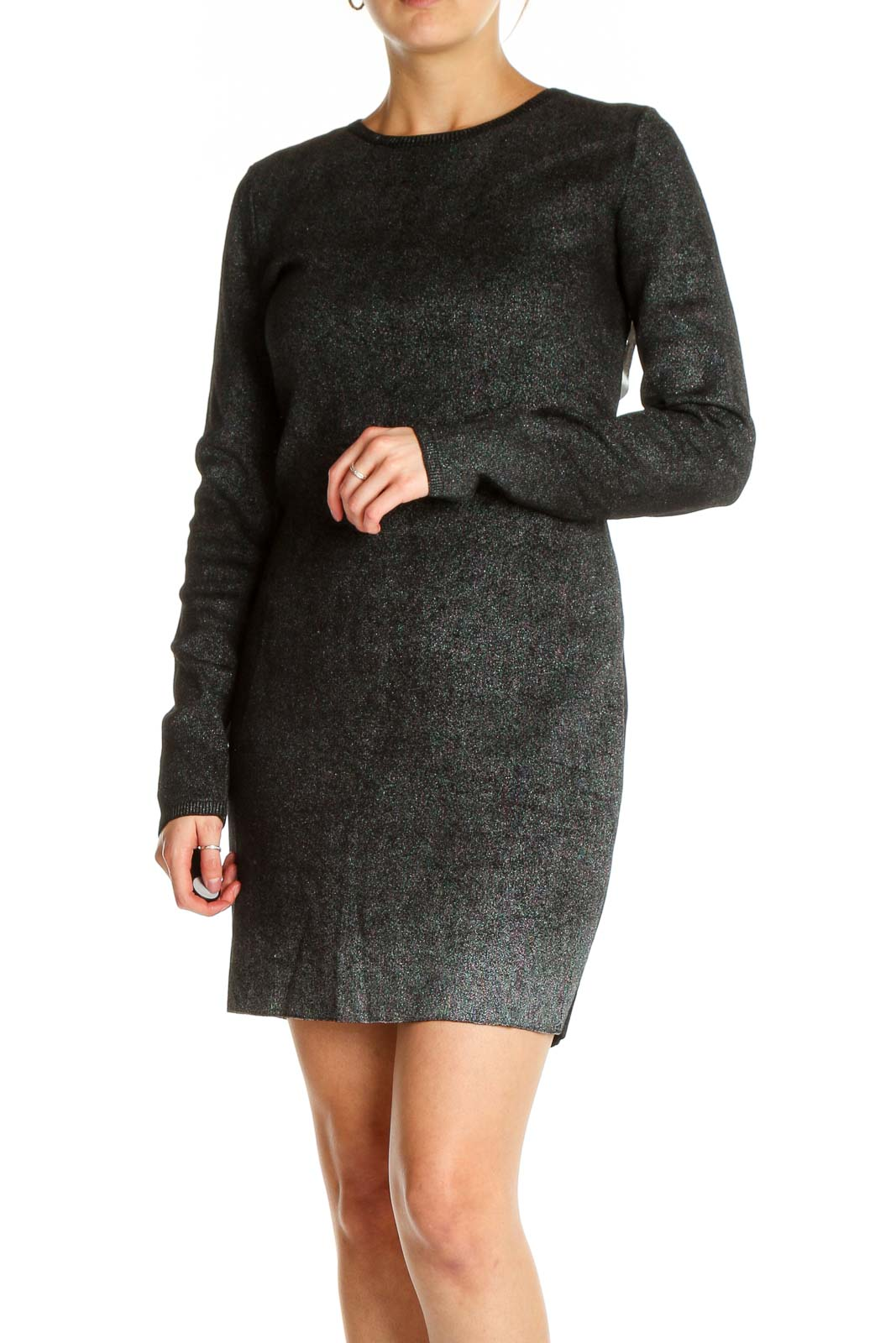 Black Textured Dress Front