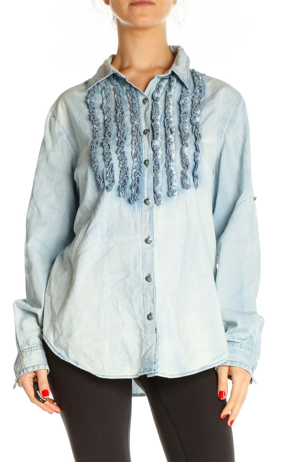 Blue Textured All Day Wear Shirt Front