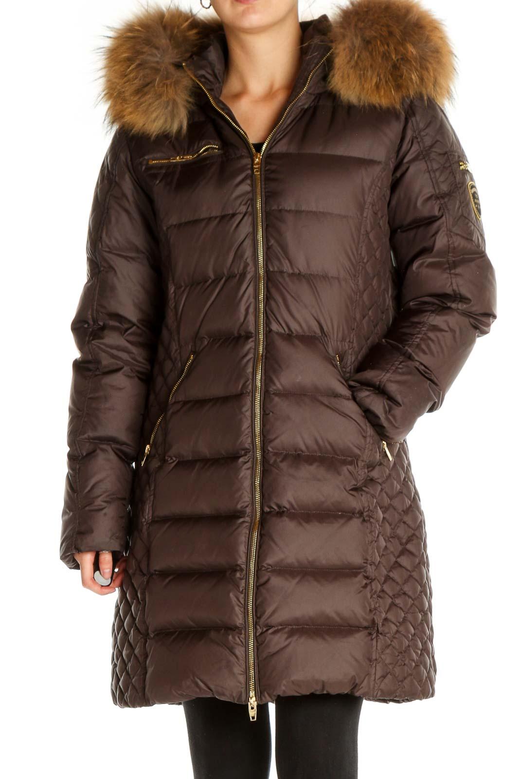 Brown Parka Coat Front