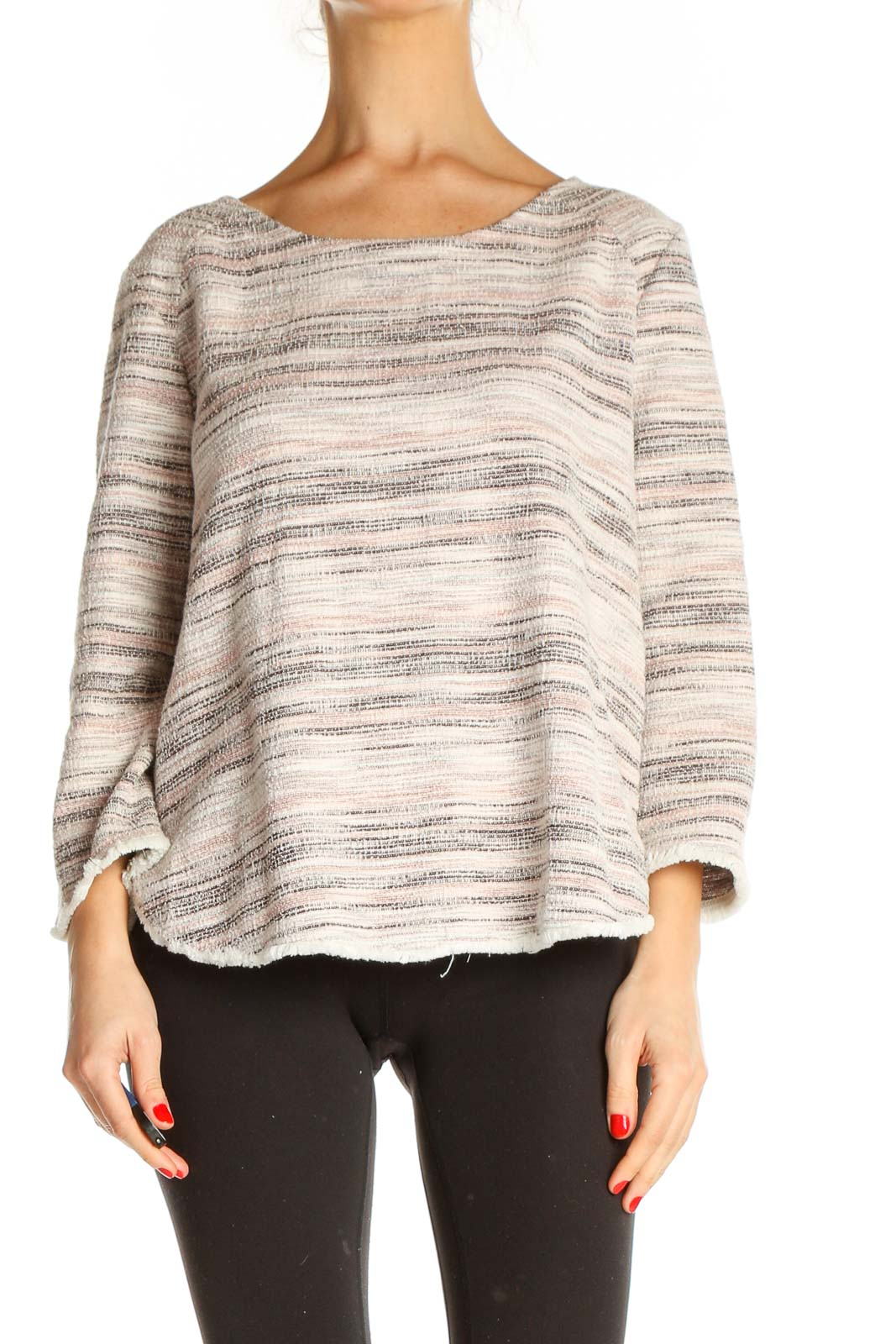 Beige Striped All Day Wear Sweater Front