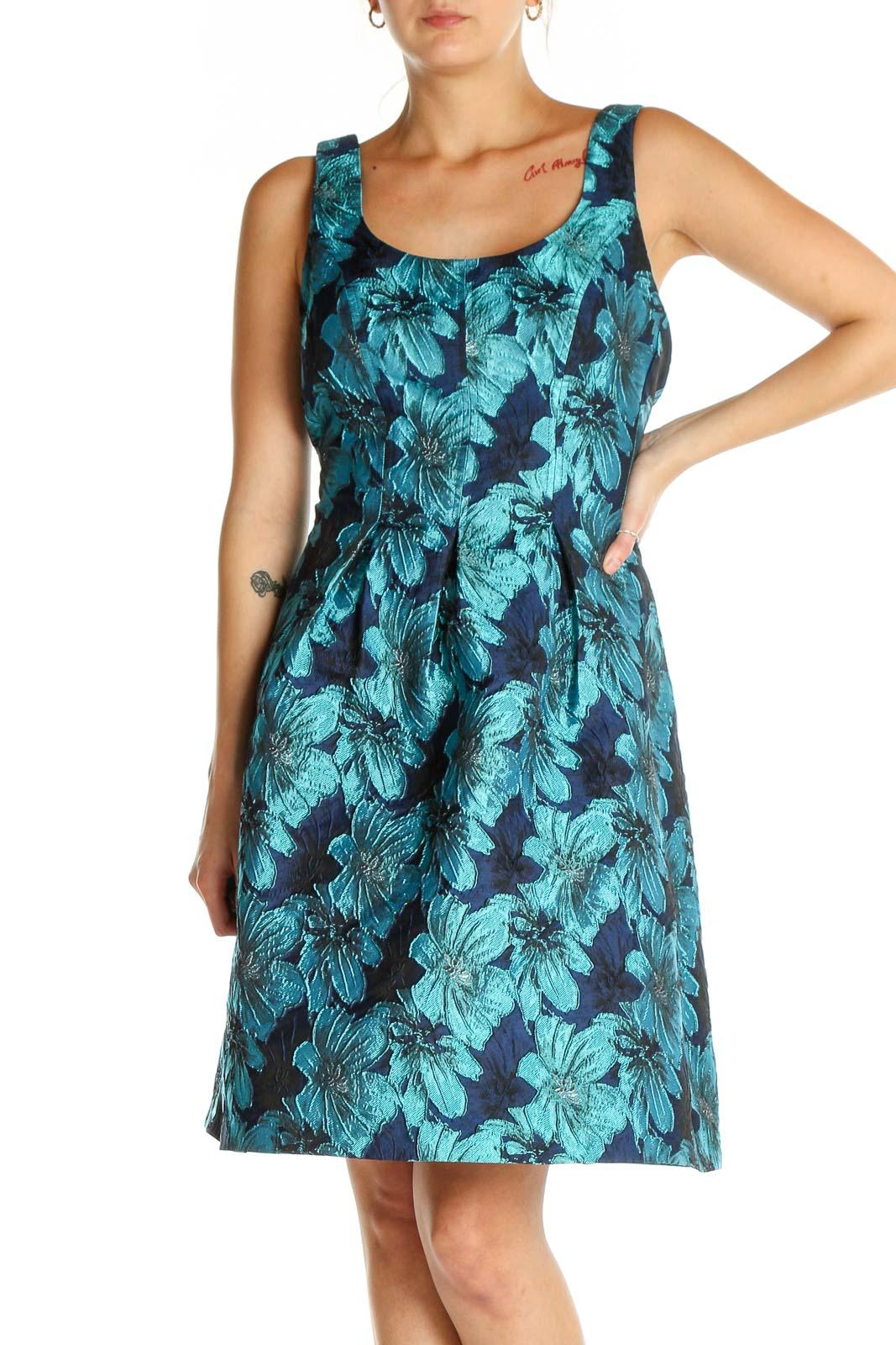 Blue Retro Fit & Flare Dress Front