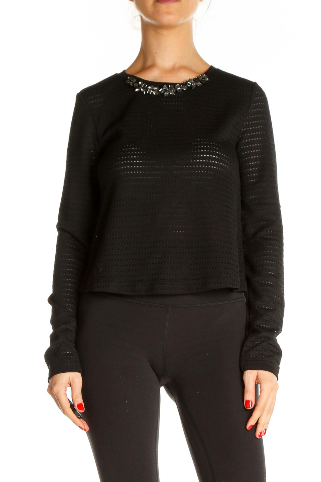Black Textured Chic Sweater Front