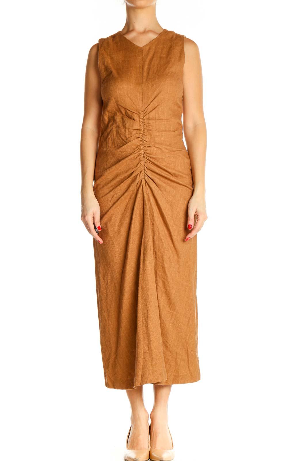 Orange Solid Classic Column Dress Front