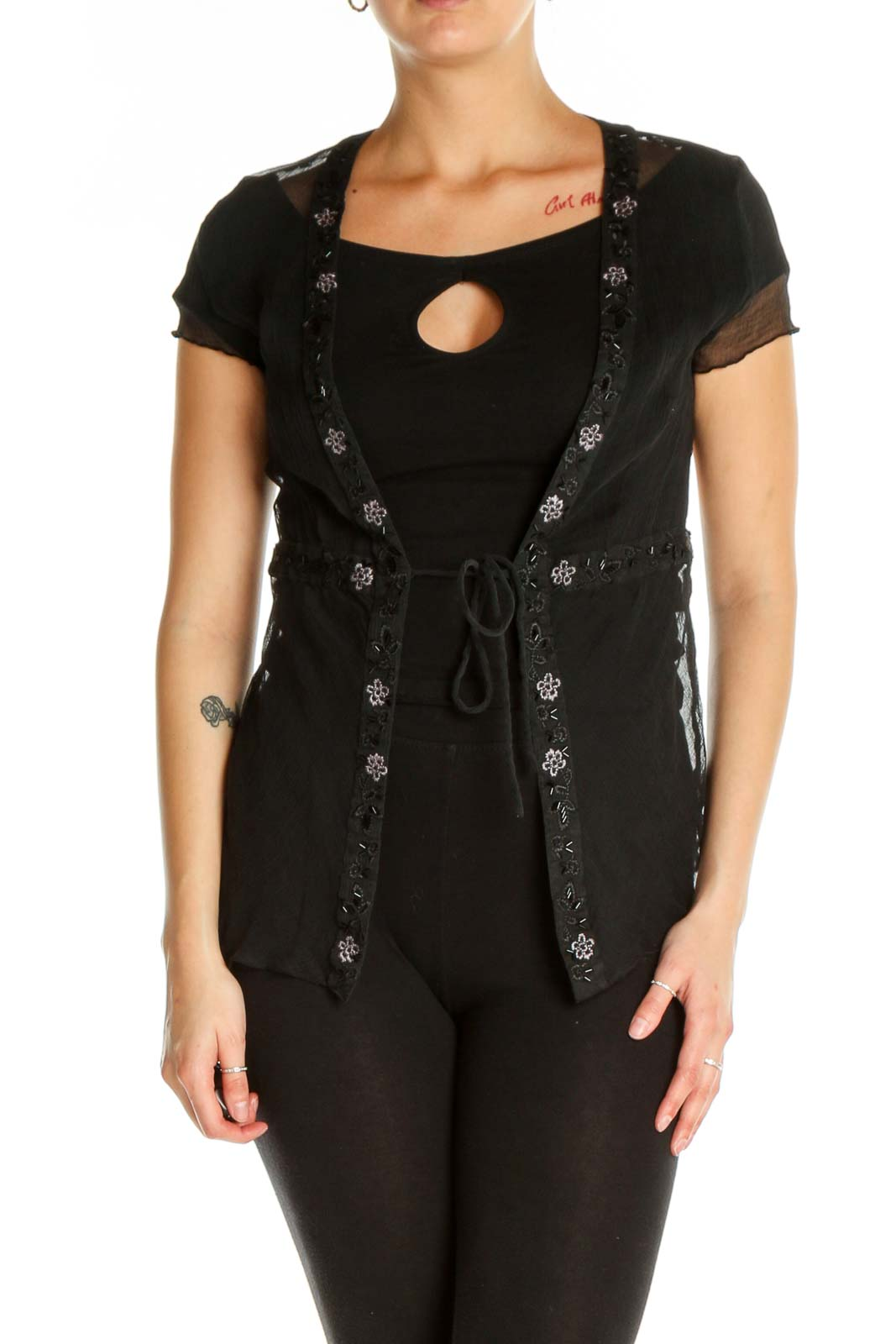 Black Sheer Cardigan Front