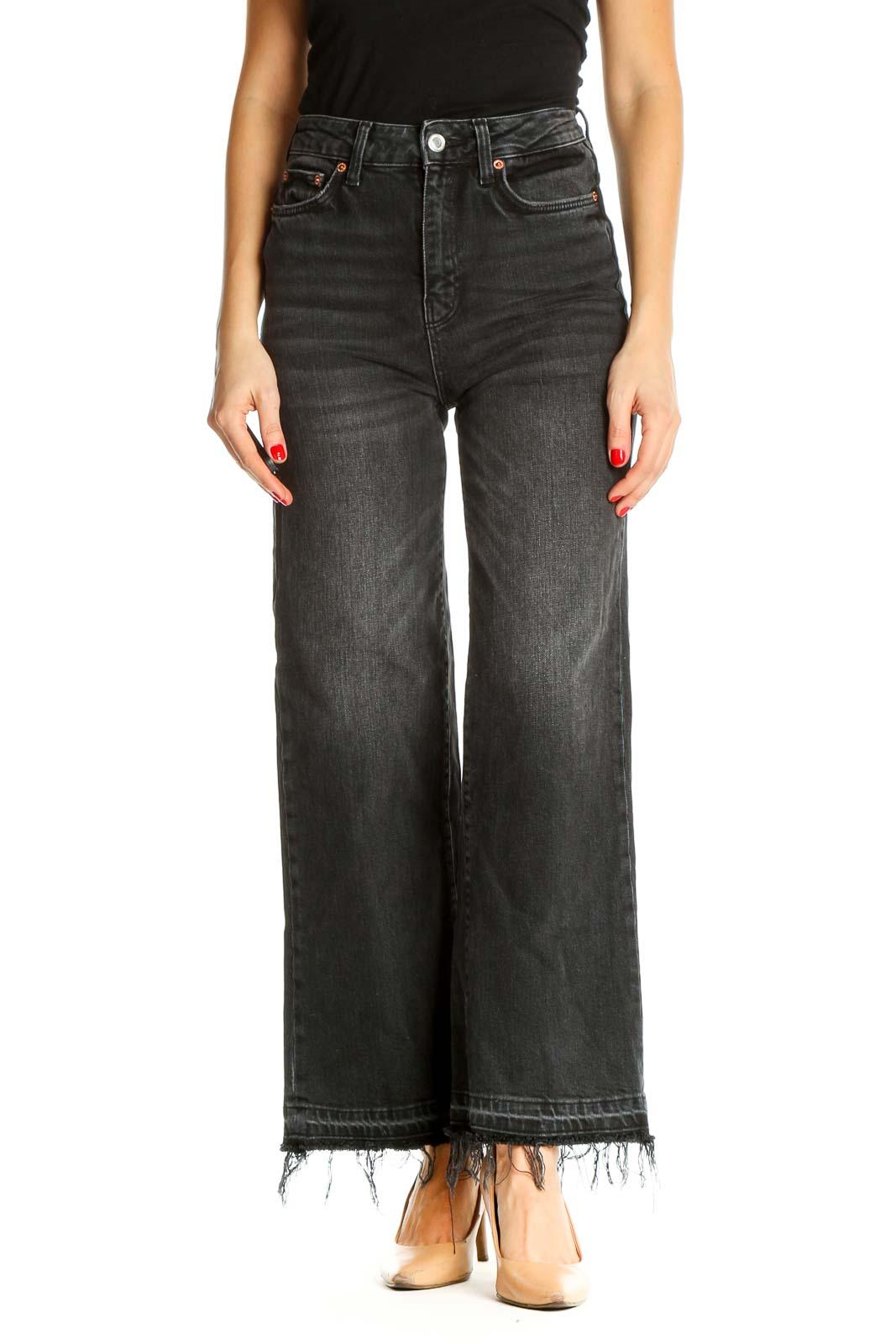 Black Wide Leg Jeans Front
