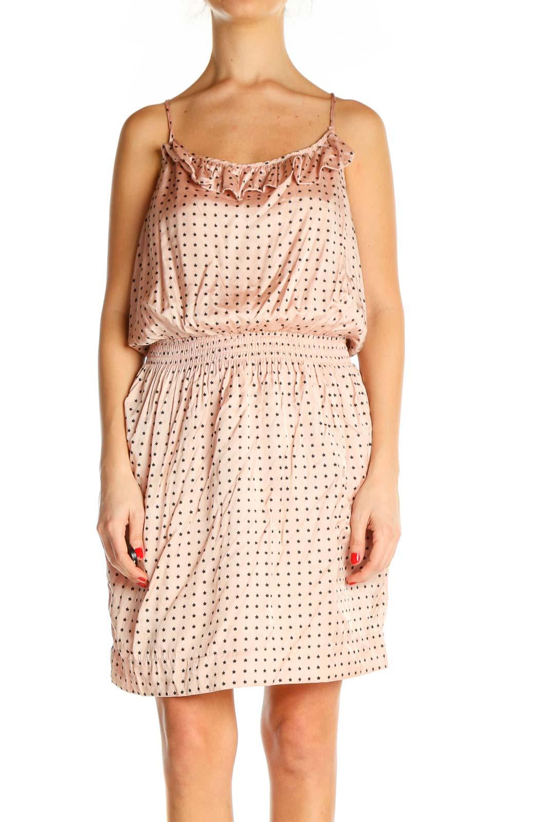 Beige Printed Bohemian Fit & Flare Dress Front