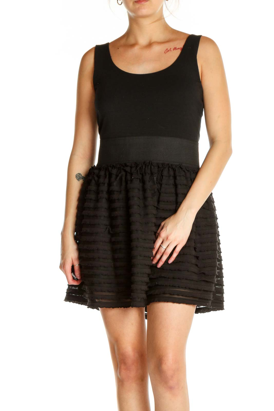 Black Solid Fit & Flare Dress Front