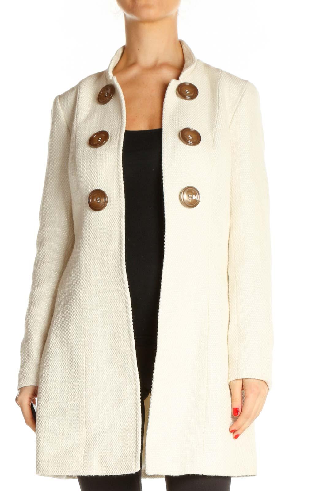Beige Outerwear Coat Front