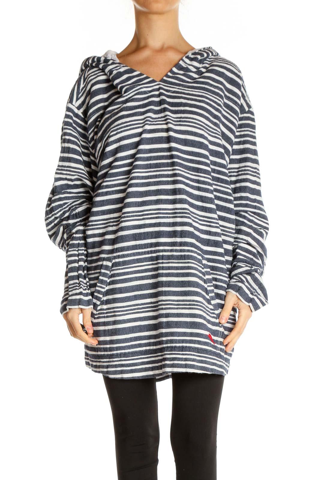 Gray Striped Retro Shirt Front