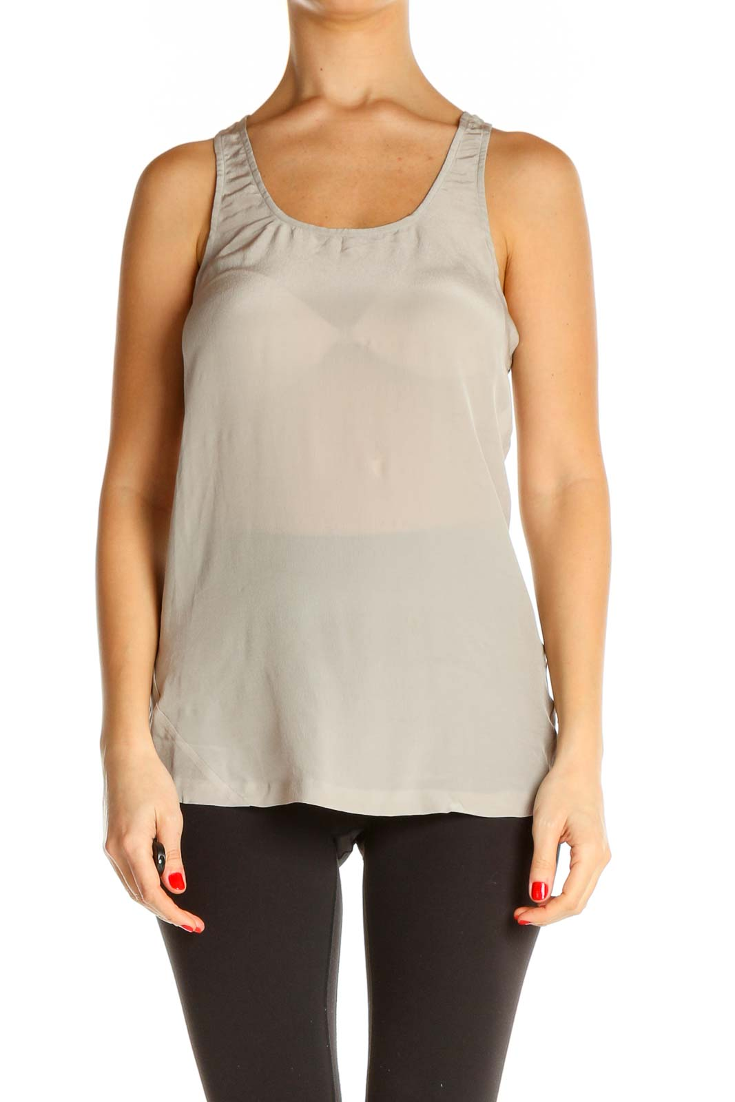 Gray Solid Chic Tank Top Front