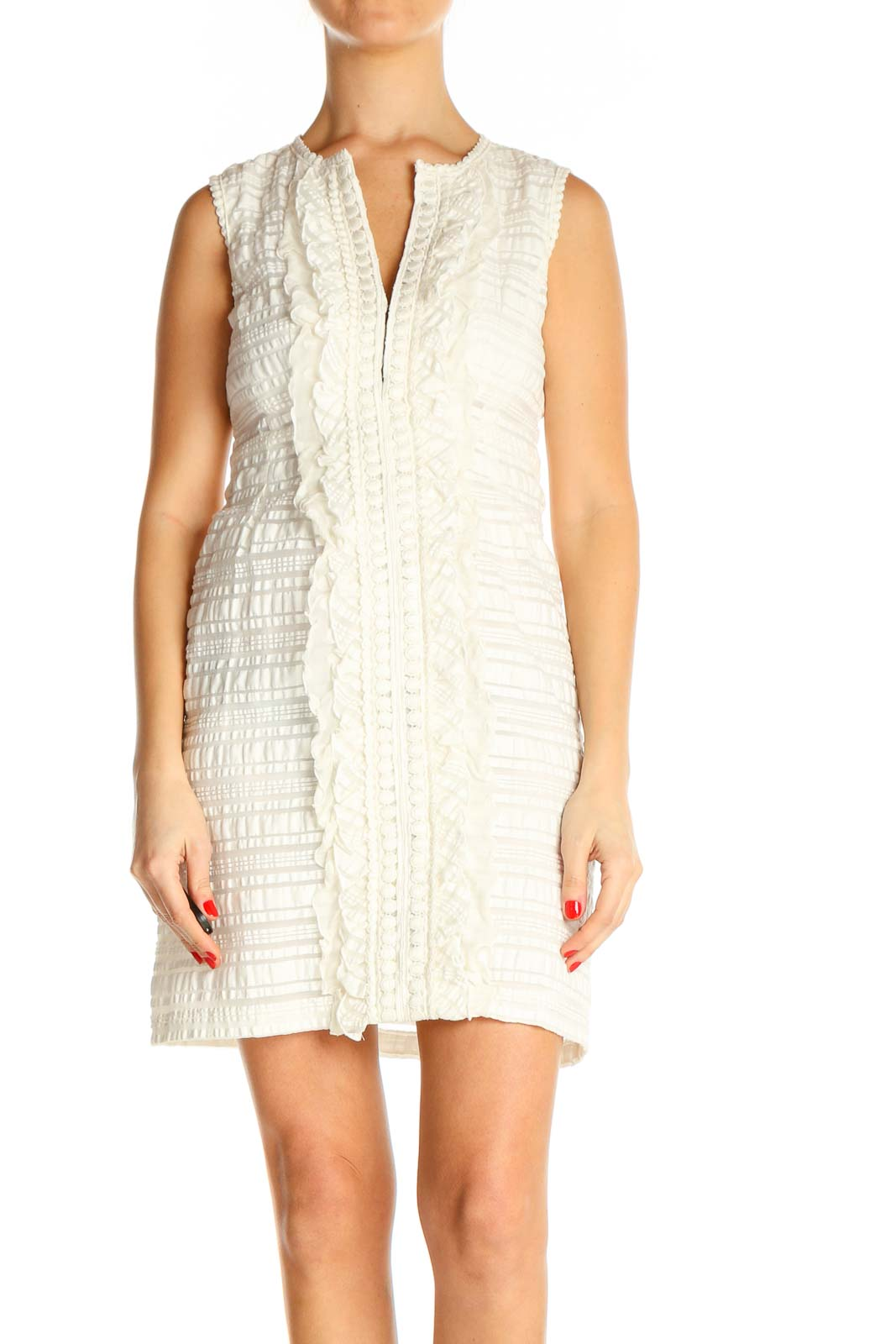 Beige Day A-Line Dress Front