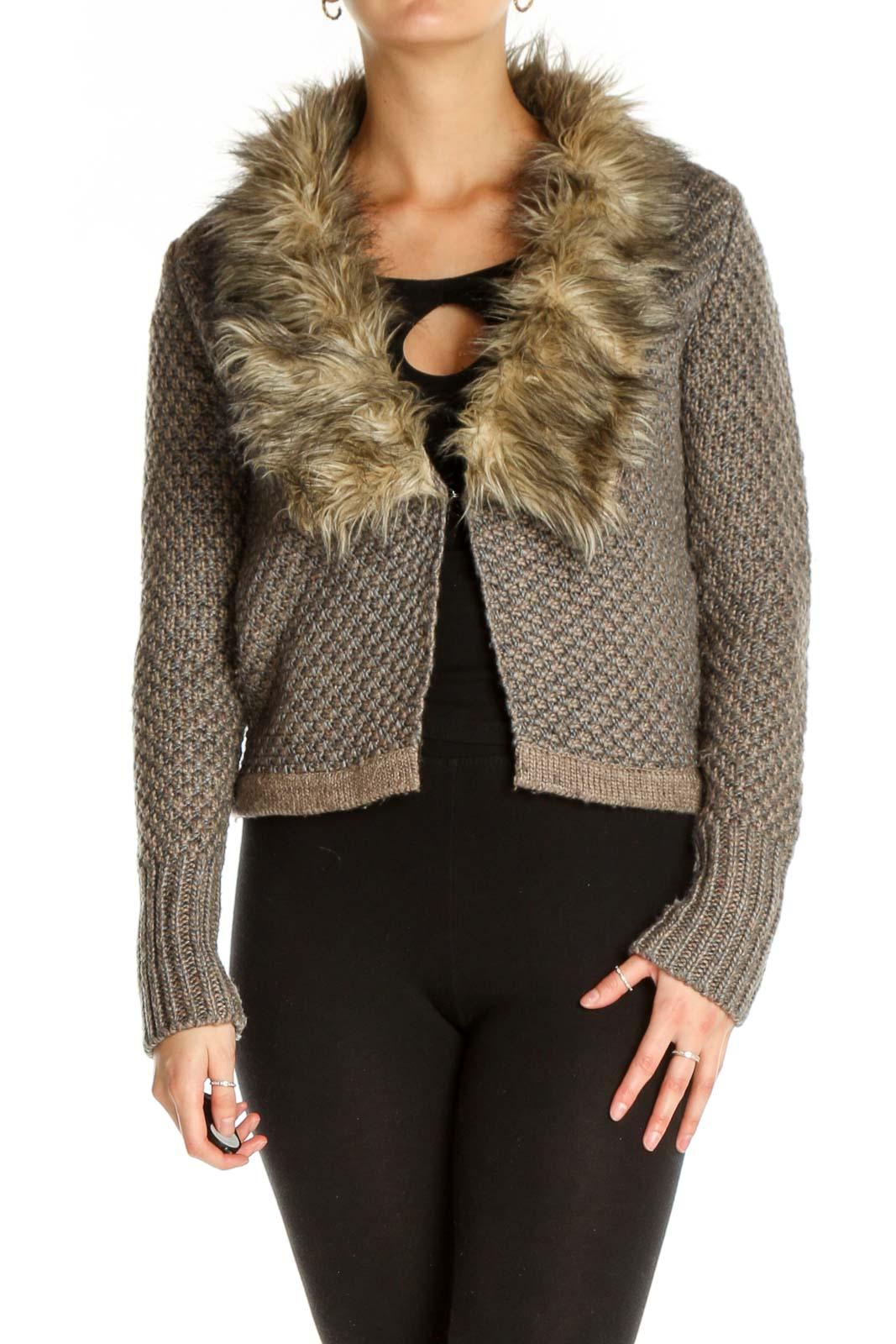 Brown Fur Jacket Front