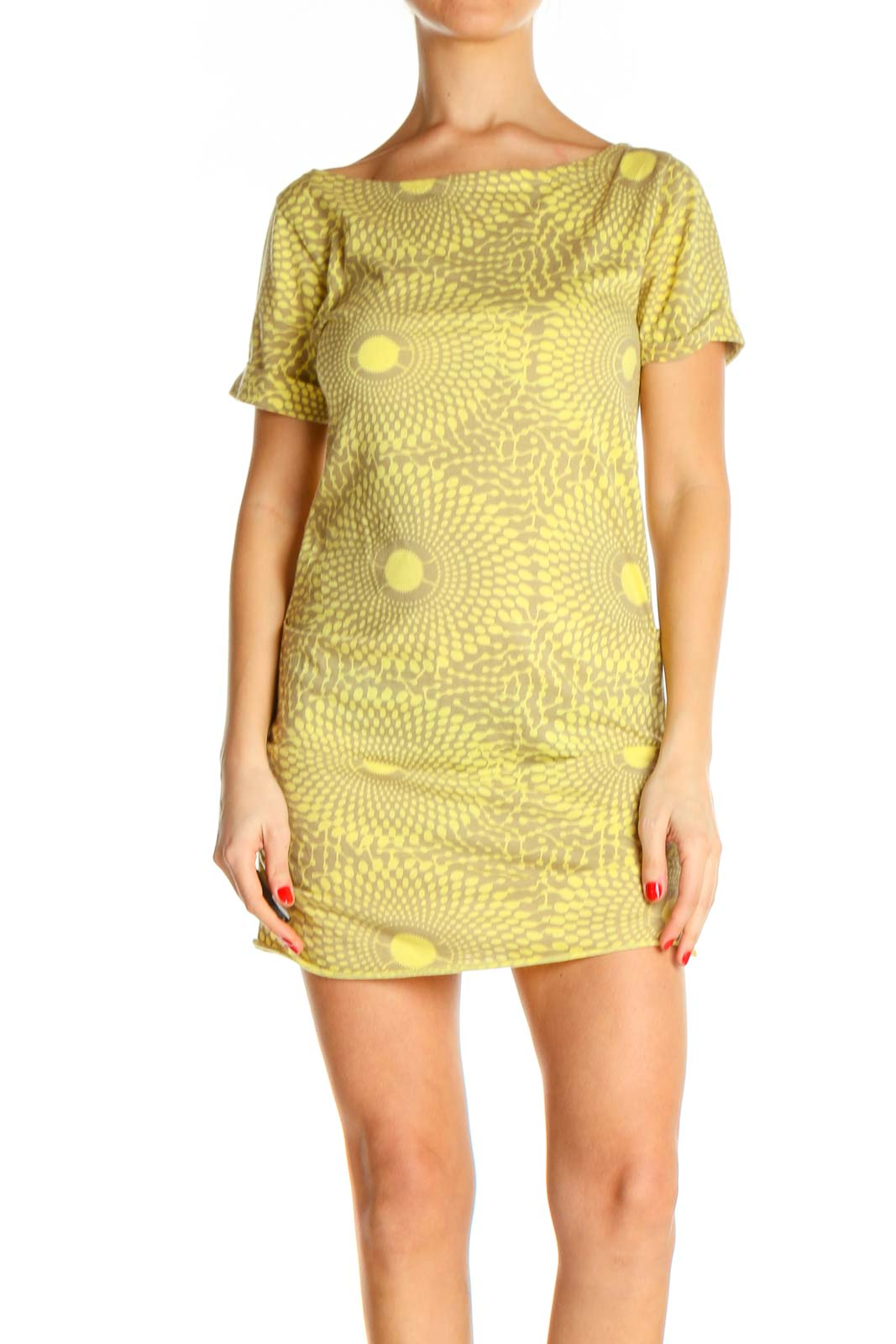 Yellow Textured Classic Sheath Dress Front