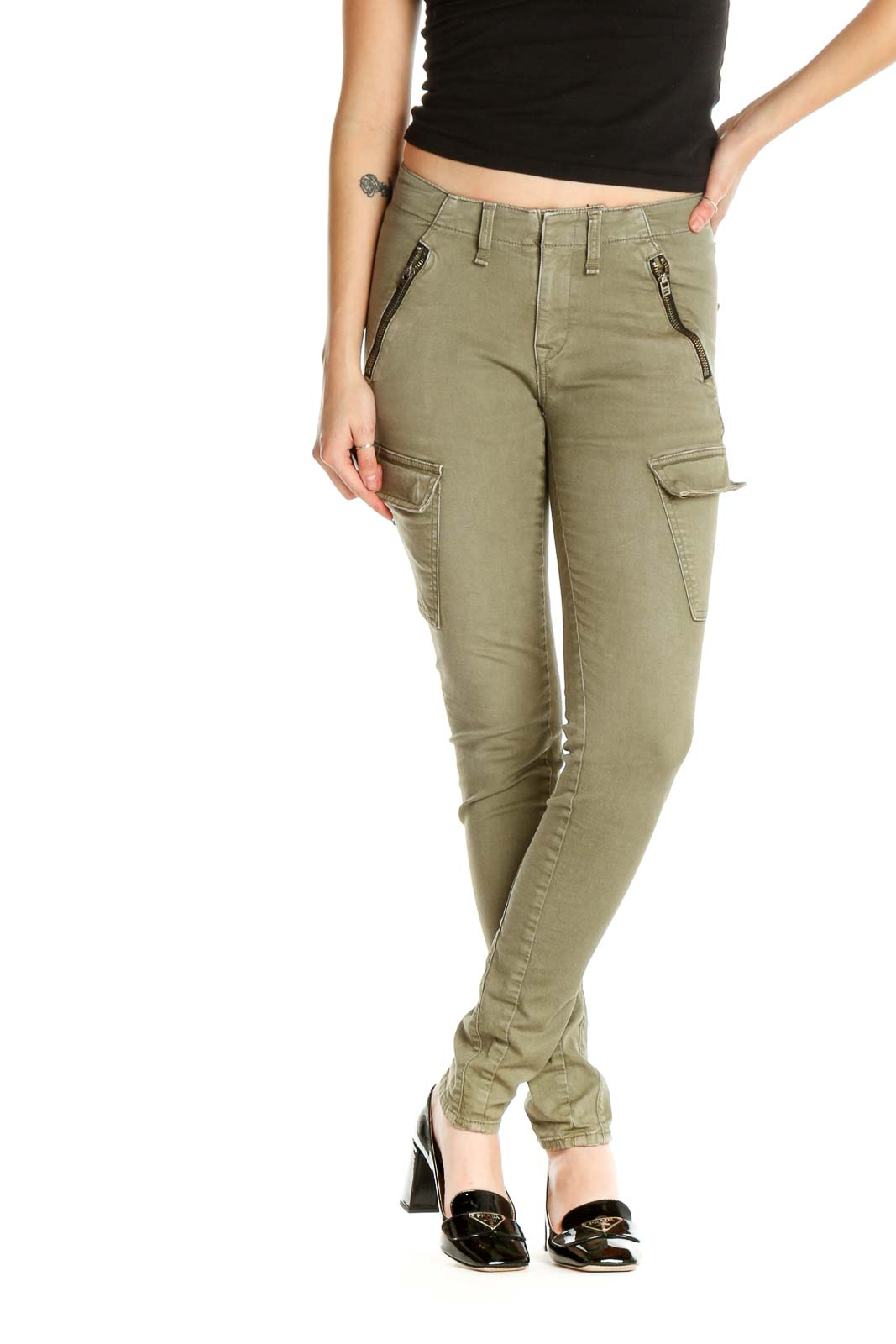 Green Solid Casual Cargos Pants Front