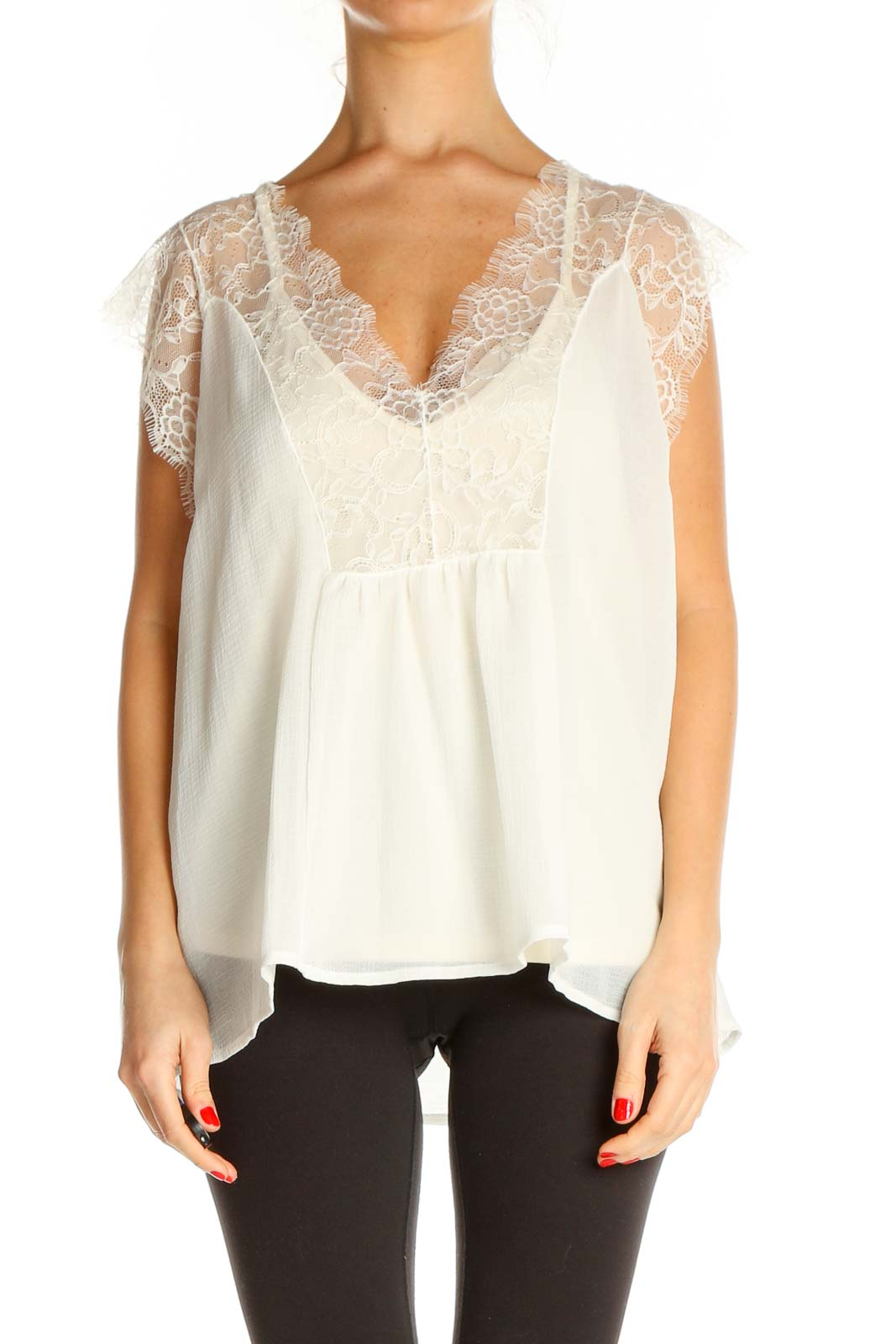 Beige Lace Holiday Blouse Front