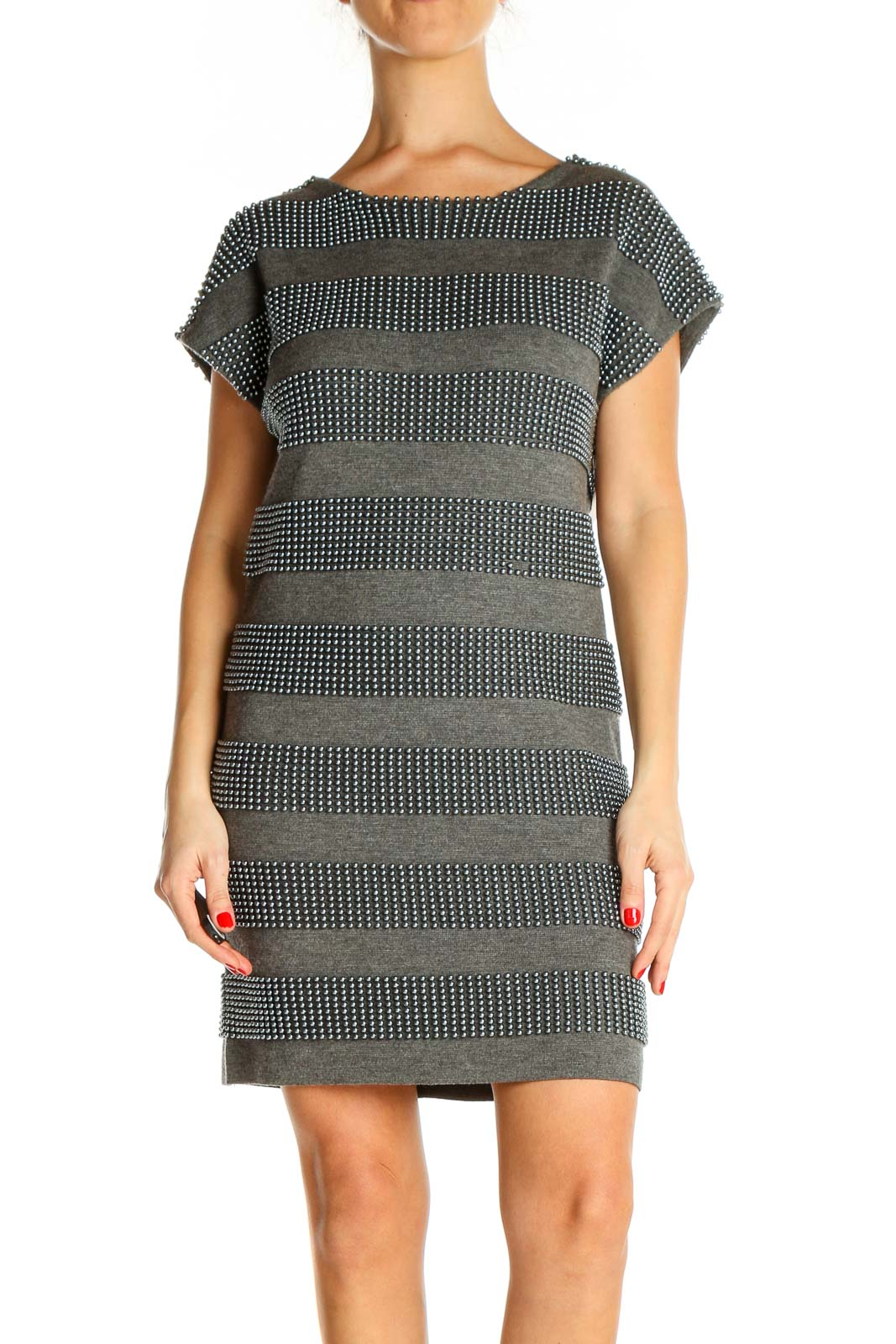 Gray Striped Day Sheath Dress Front