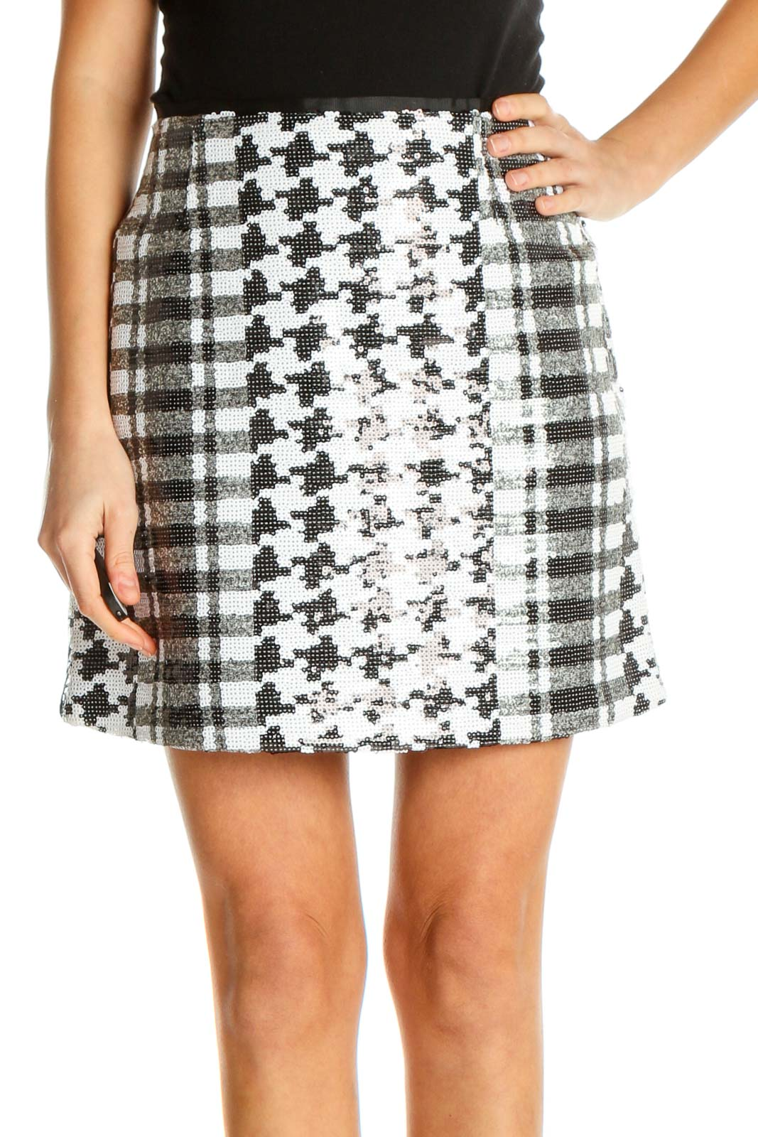 White Printed Chic A-Line Skirt Front