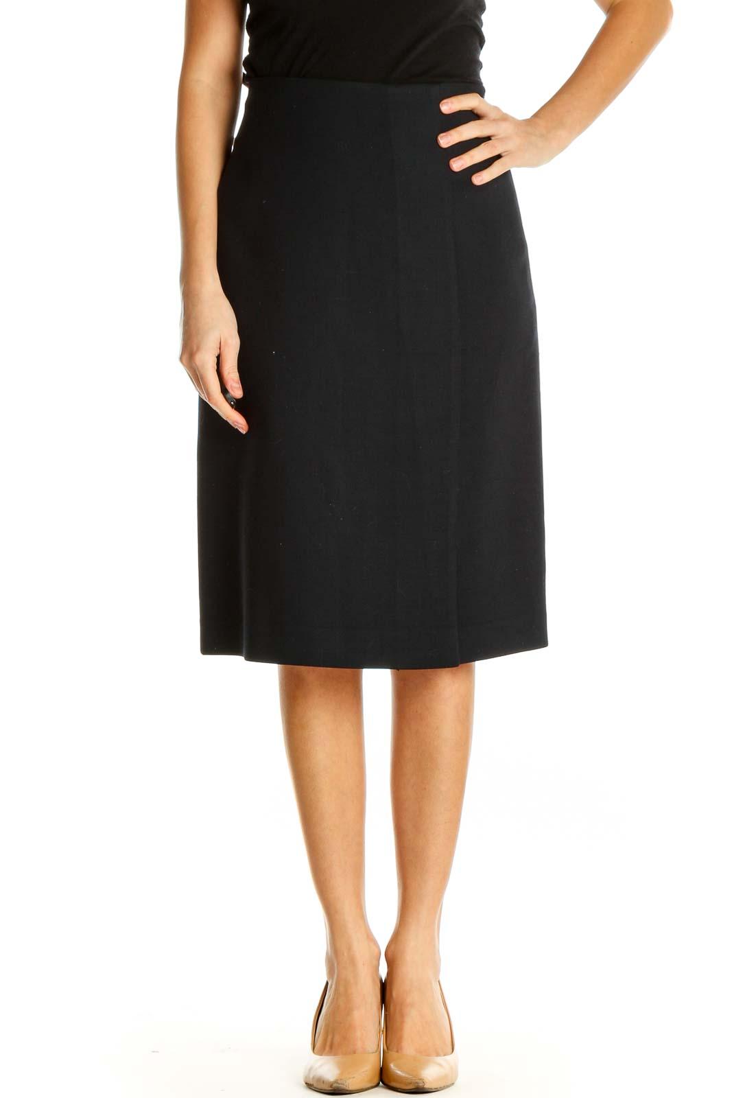 Black Striped Brunch Pencil Skirt Front