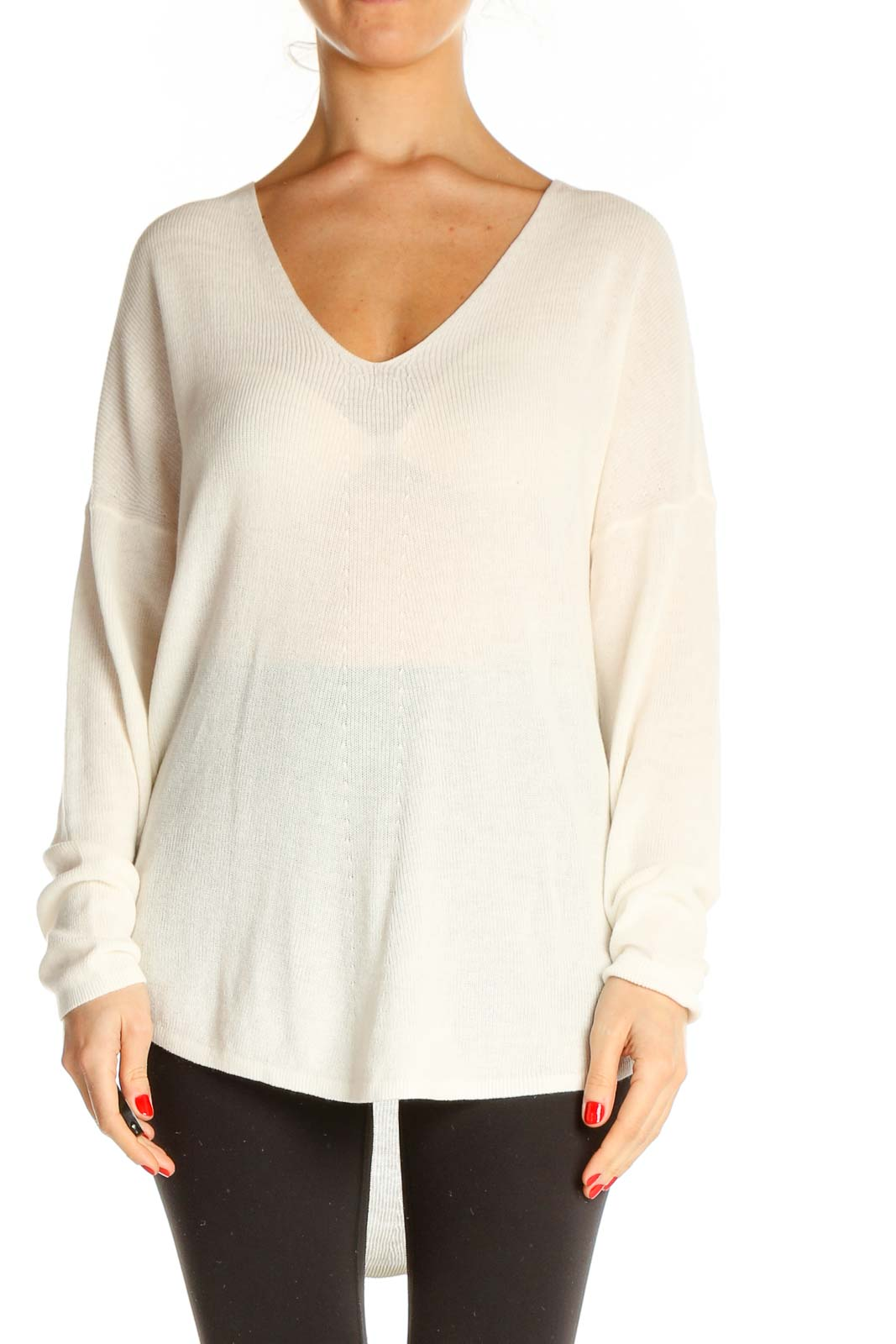 Beige Solid All Day Wear Sweater Front