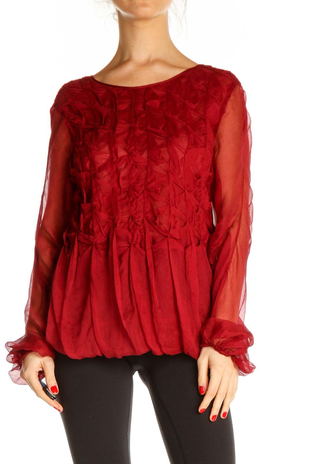 Red Textured Retro Blouse Front