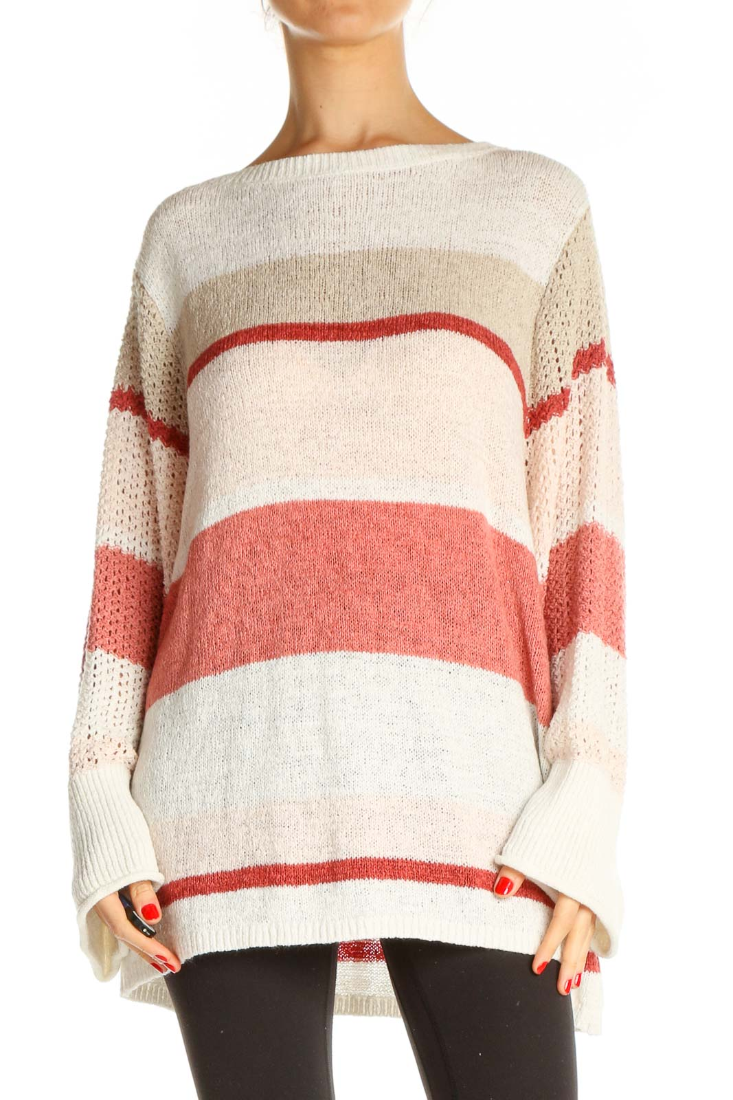Beige Colorblock All Day Wear Sweater Front