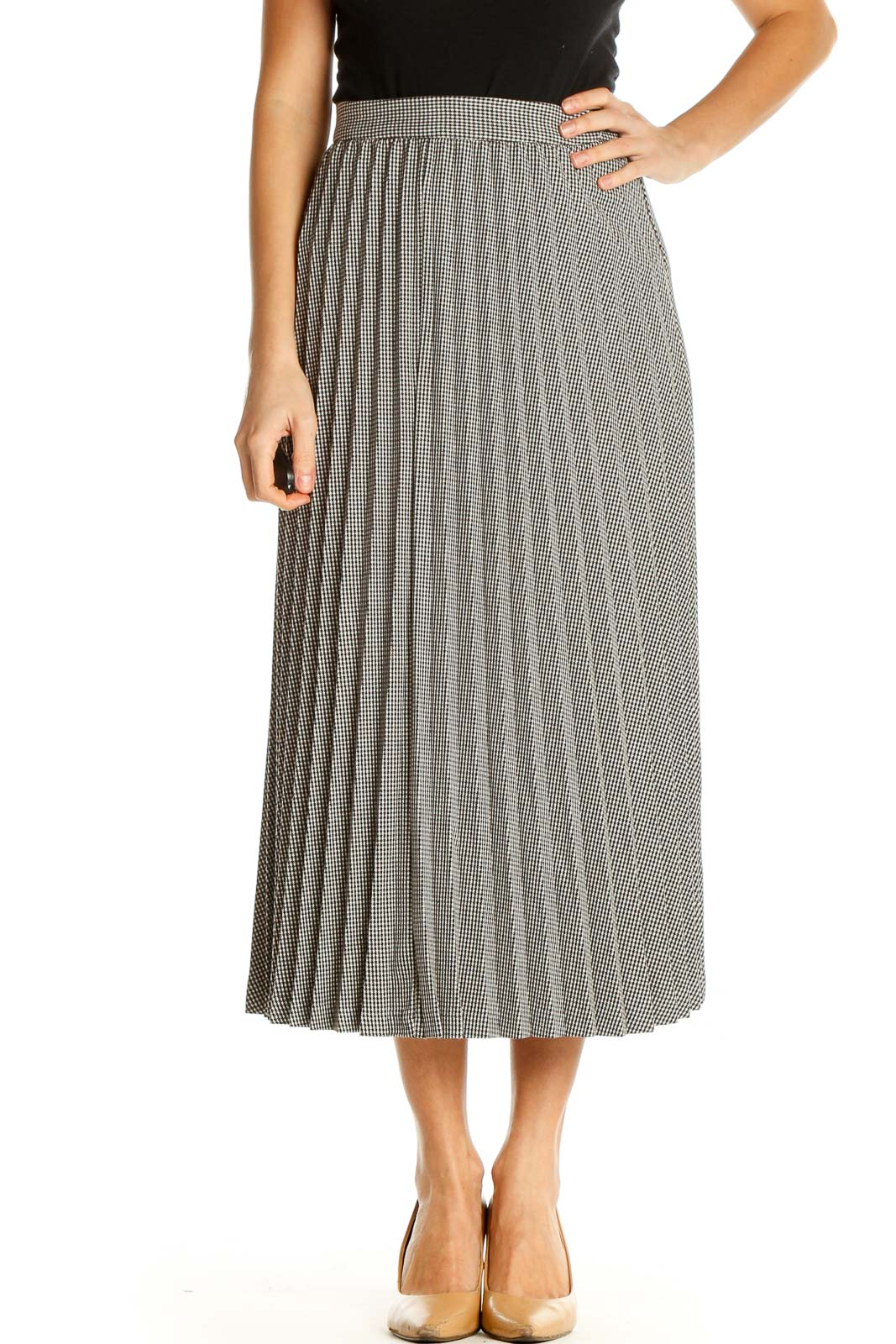 Gray Textured All Day Wear Pleated Skirt Front