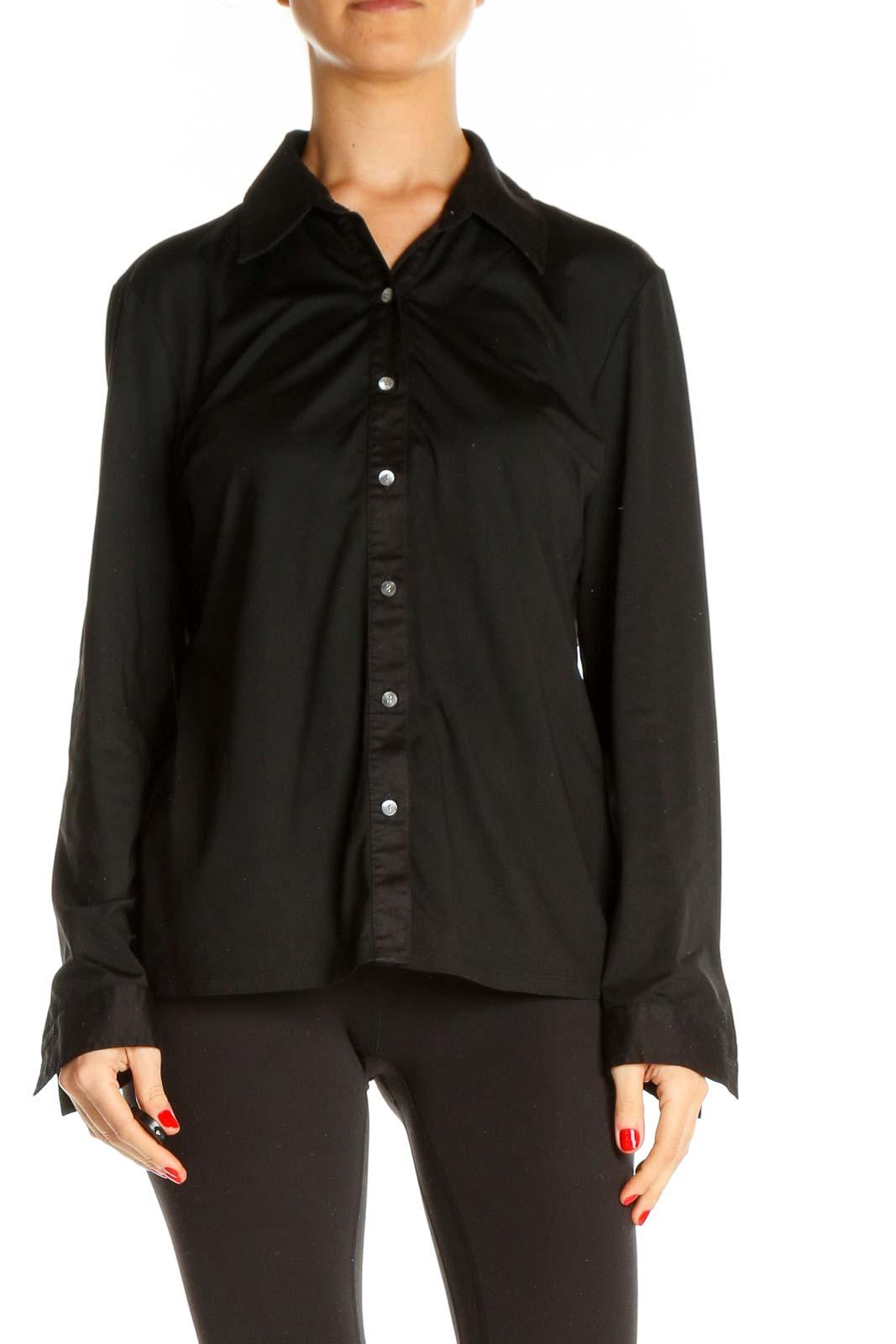 Black Solid Formal Shirt Front