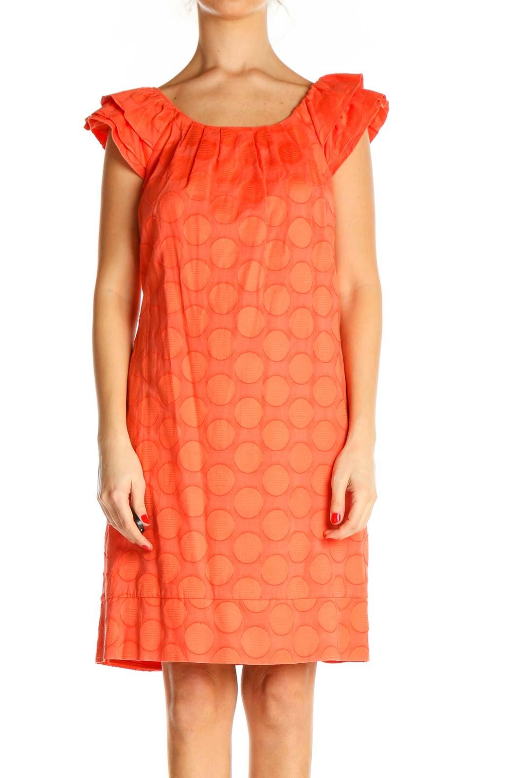 Orange Printed Retro Shift Dress Front