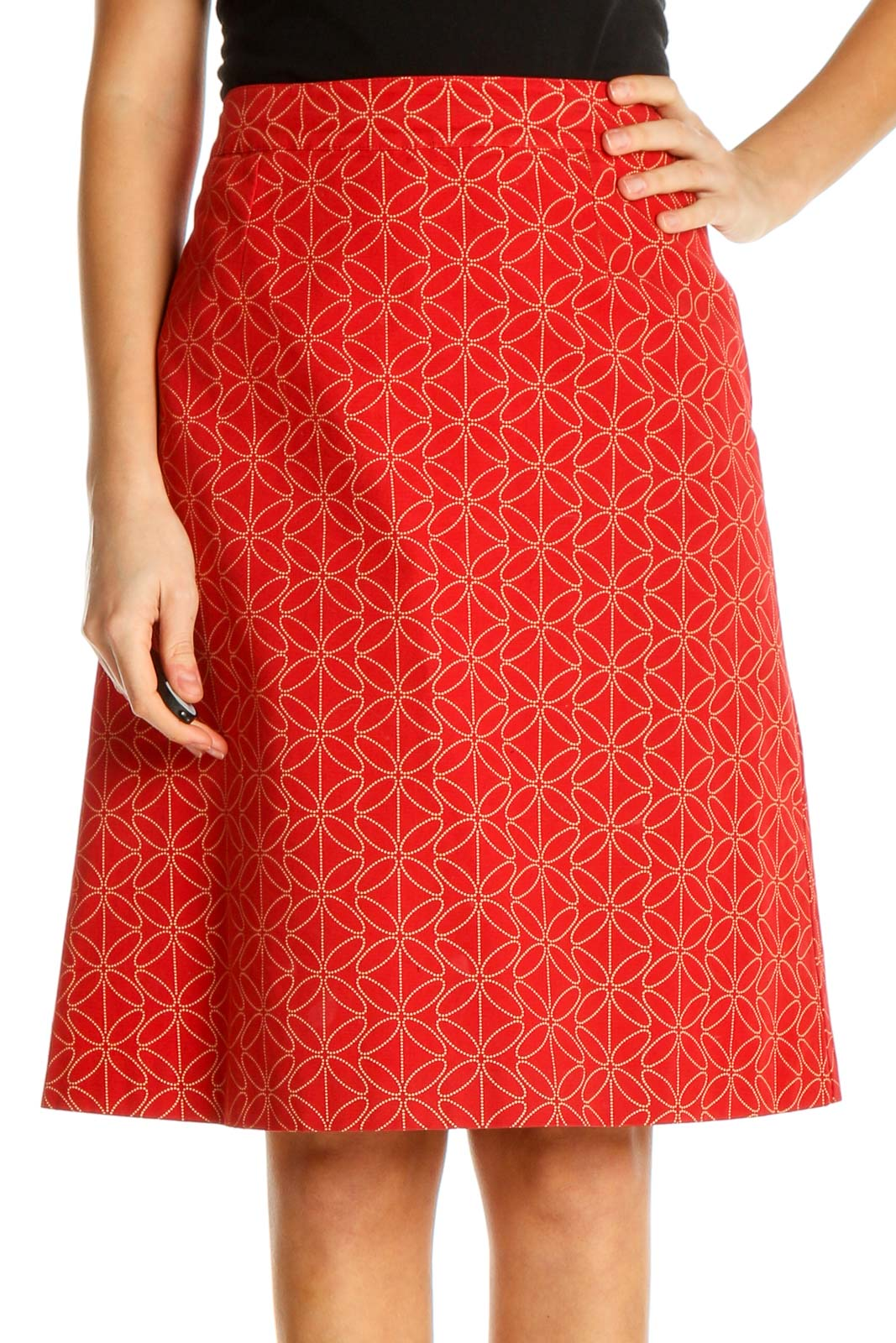 Red Printed All Day Wear A-Line Skirt Front