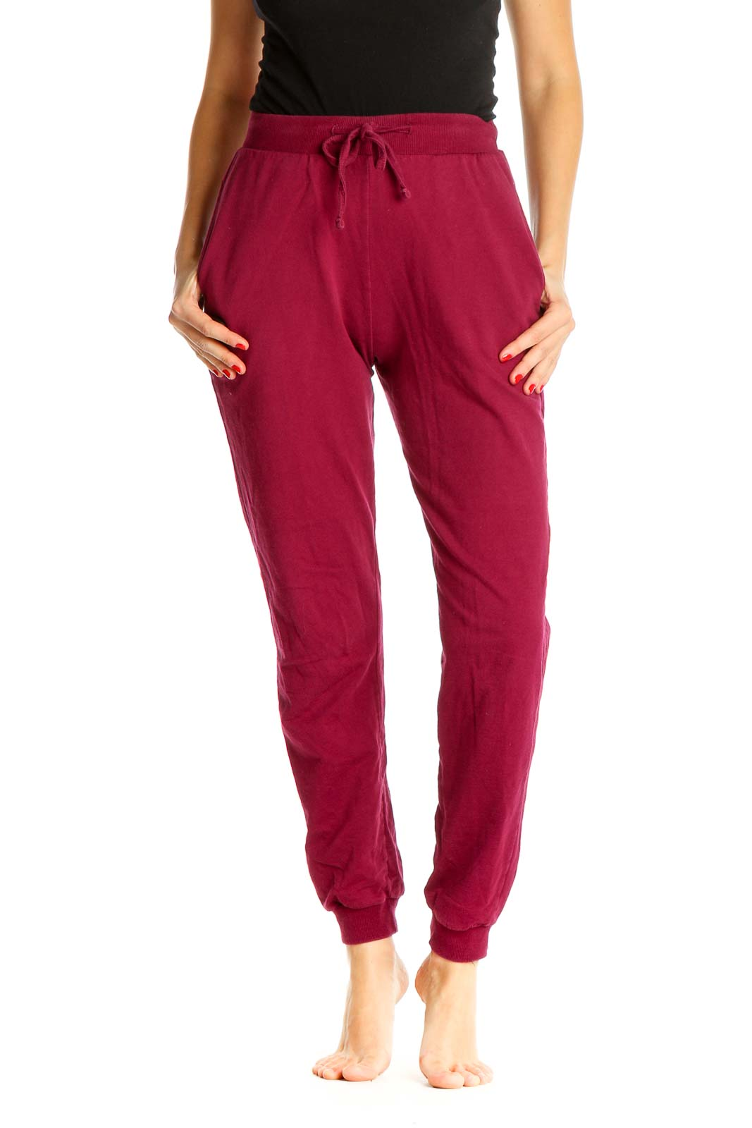 Red Solid Activewear Sweatpants Front