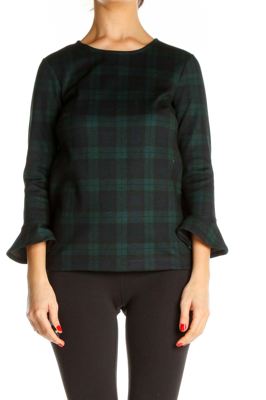 Green Checkered All Day Wear Blouse Front