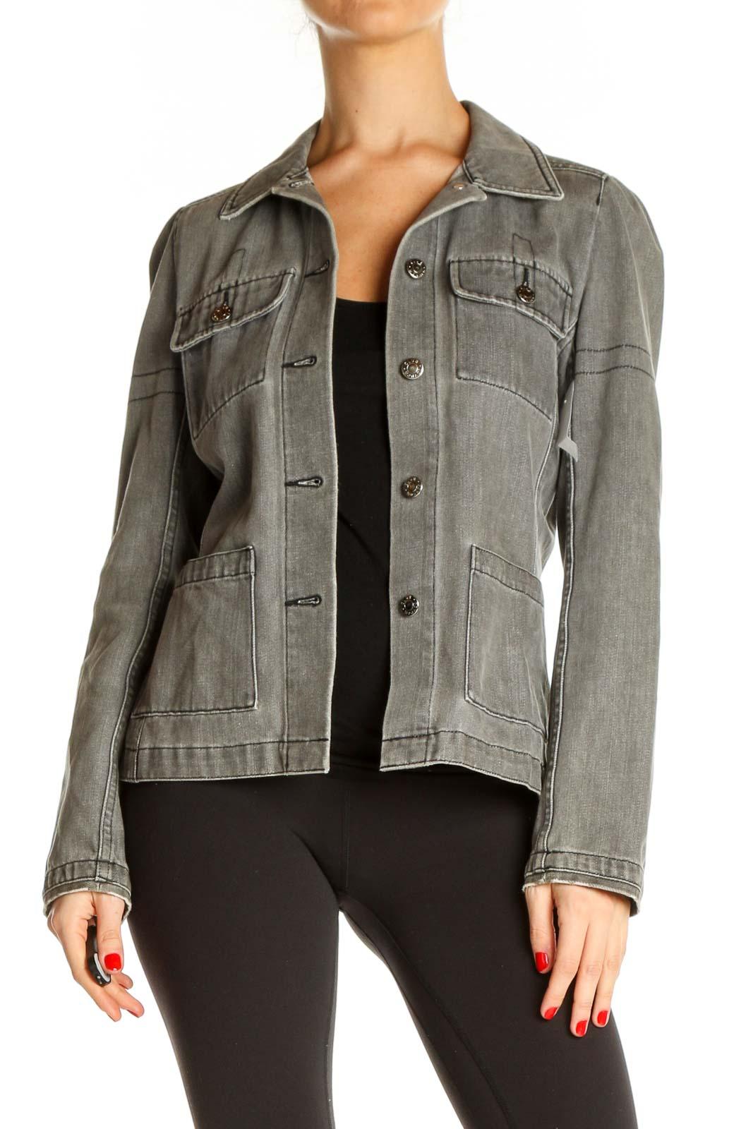 Gray Denim Jacket Front