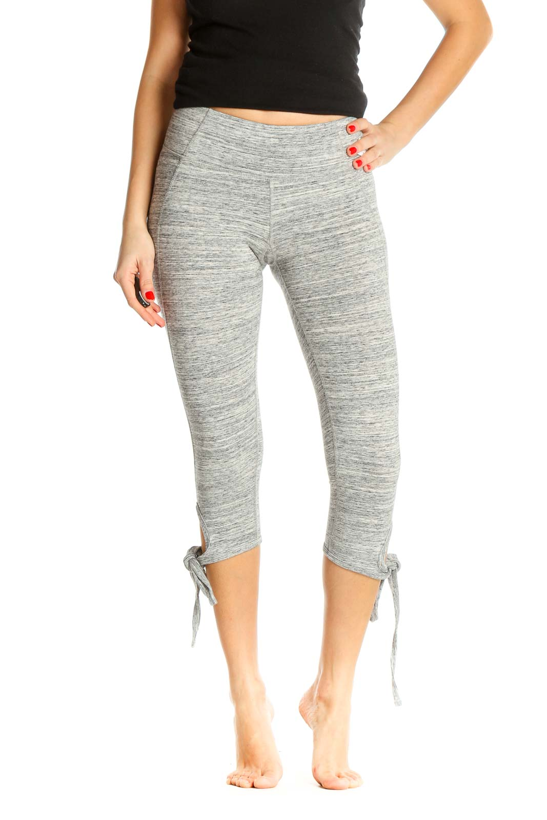 Gray Casual All Day Wear Leggings Front