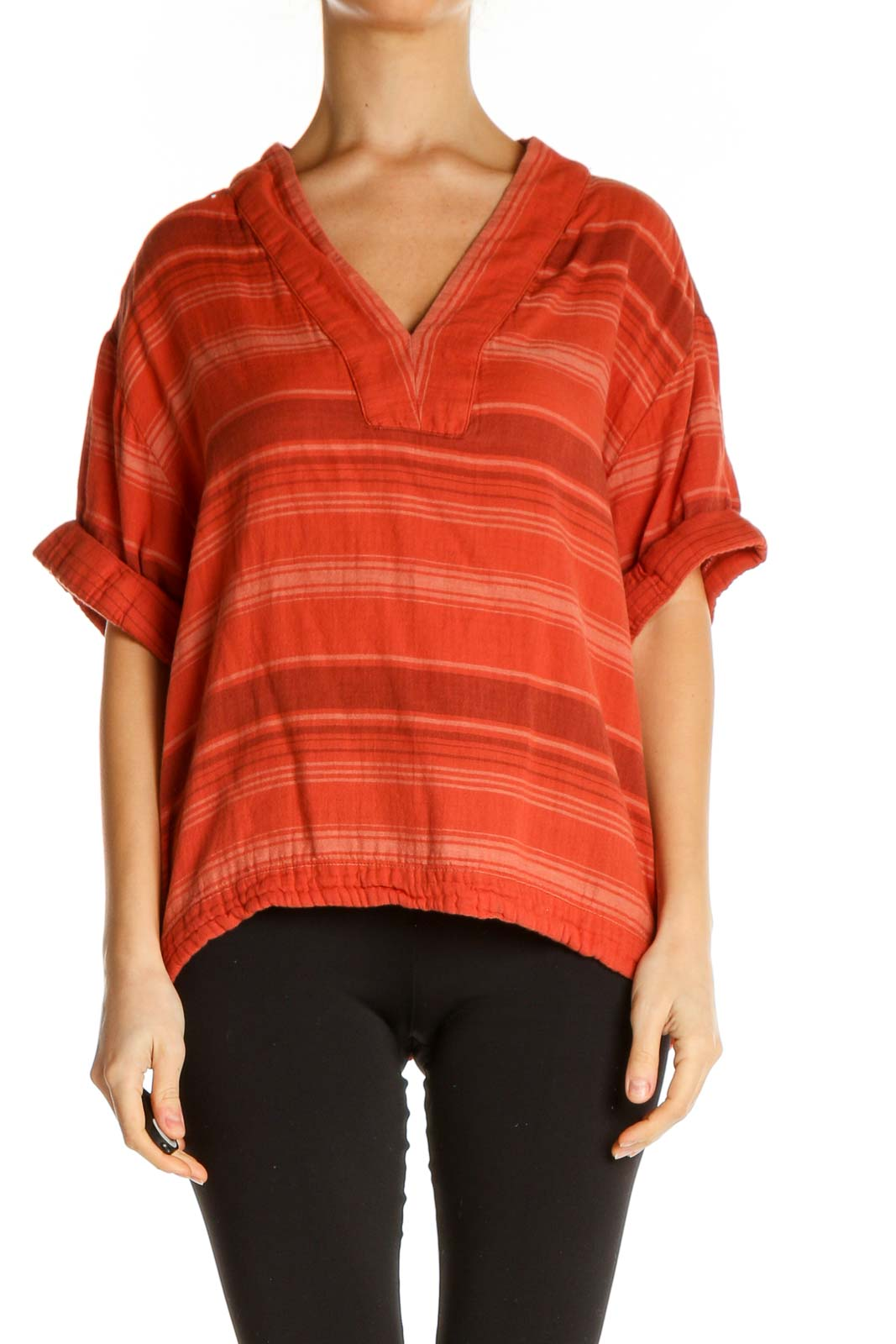 Orange Striped All Day Wear Top Front