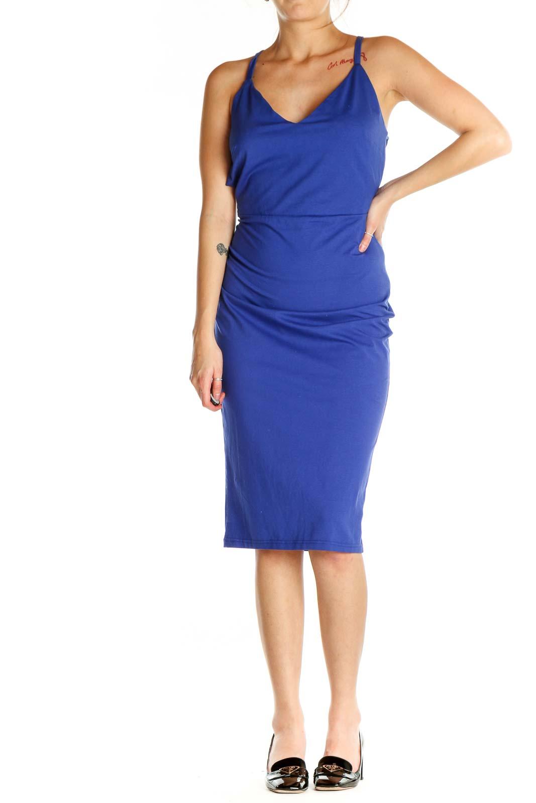 Blue Solid Classic Sheath Dress Front