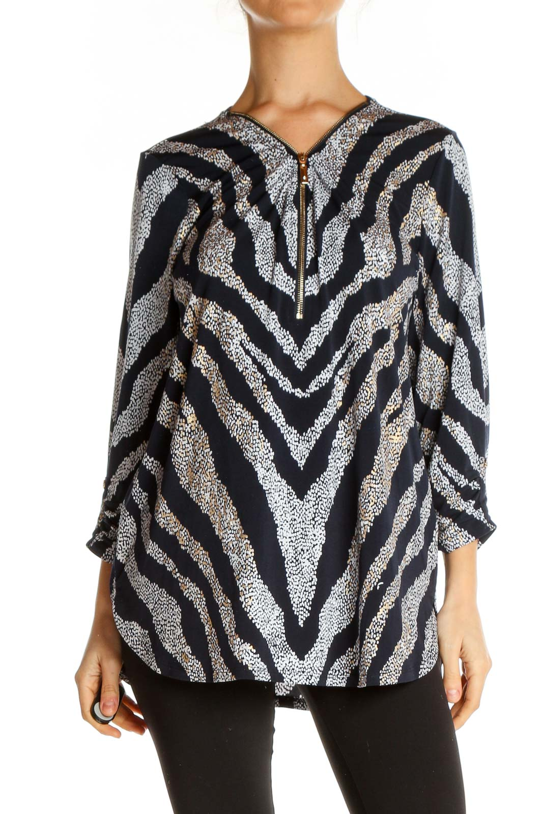 Black Printed All Day Wear Blouse Front