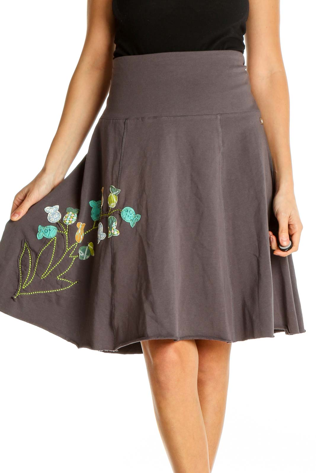 Gray Textured Chic Flared Skirt Front