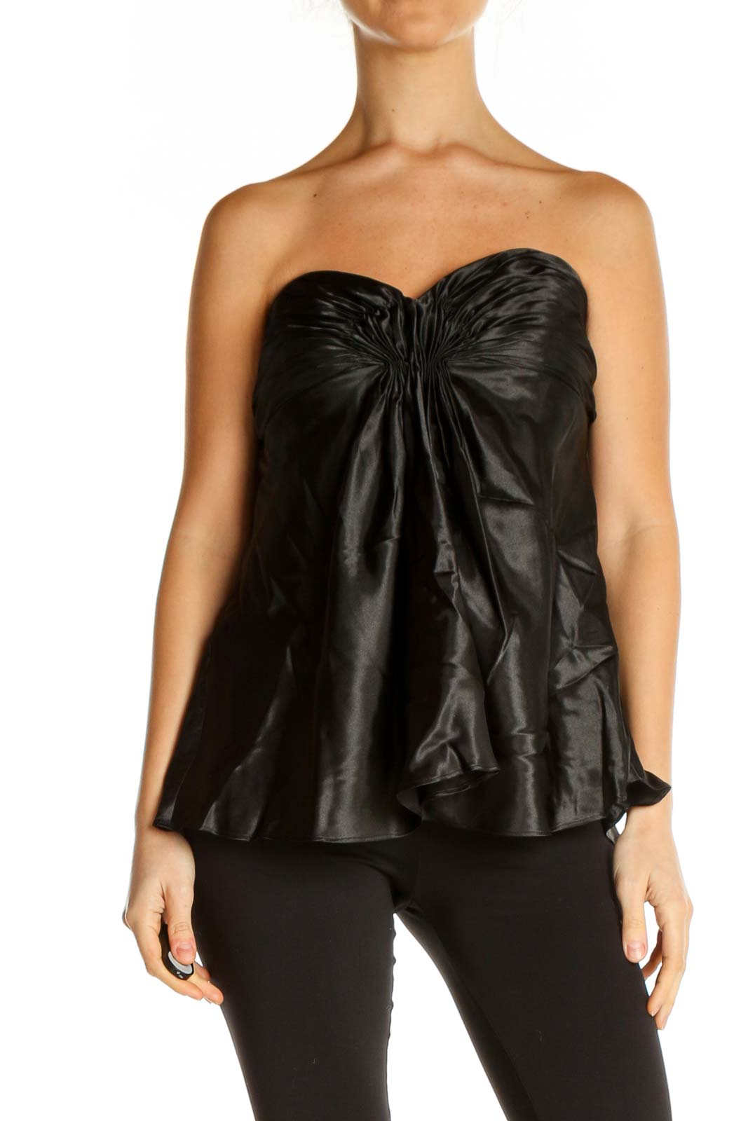 Black Solid Party Blouse Front