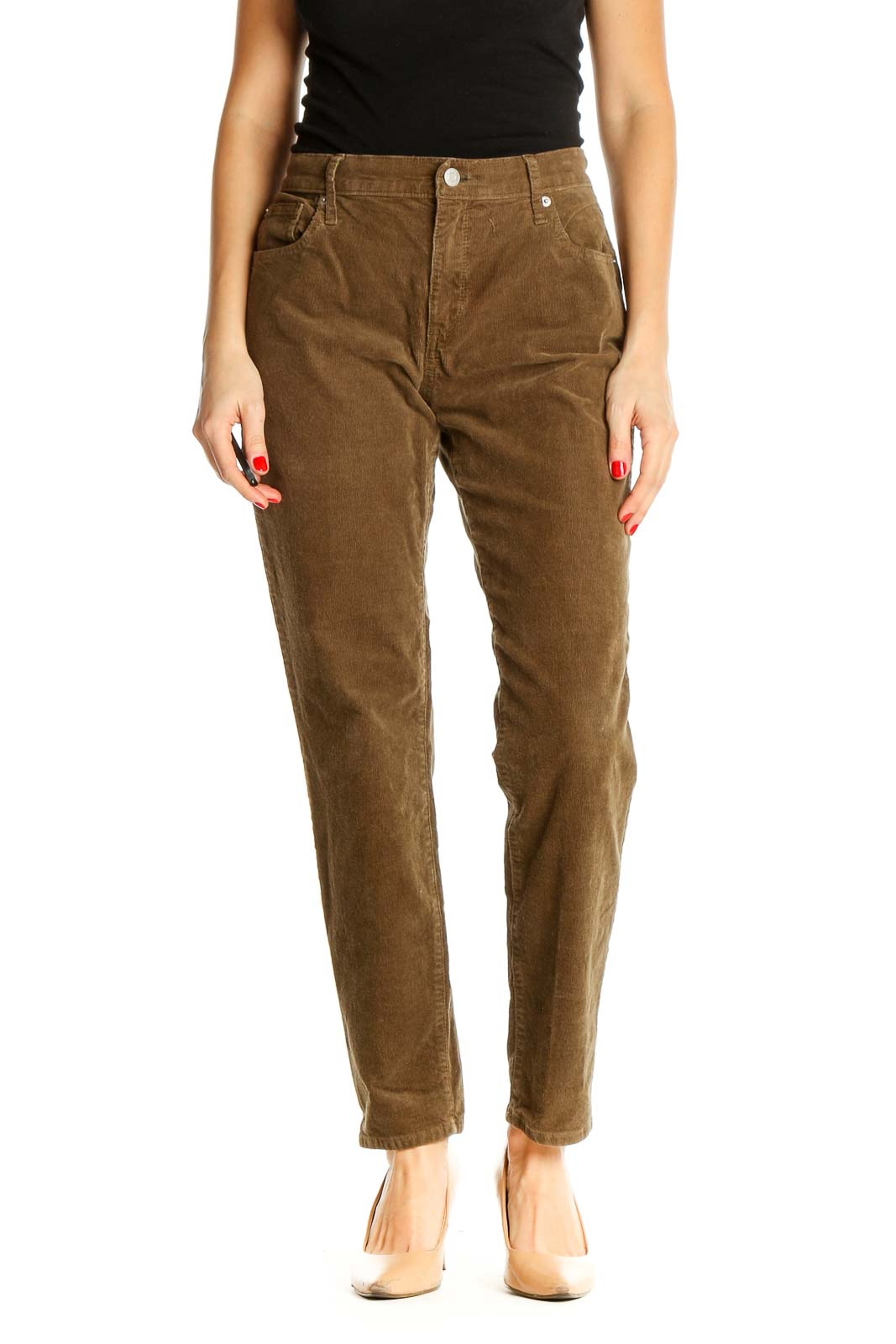 Brown Straight Leg Jeans Front