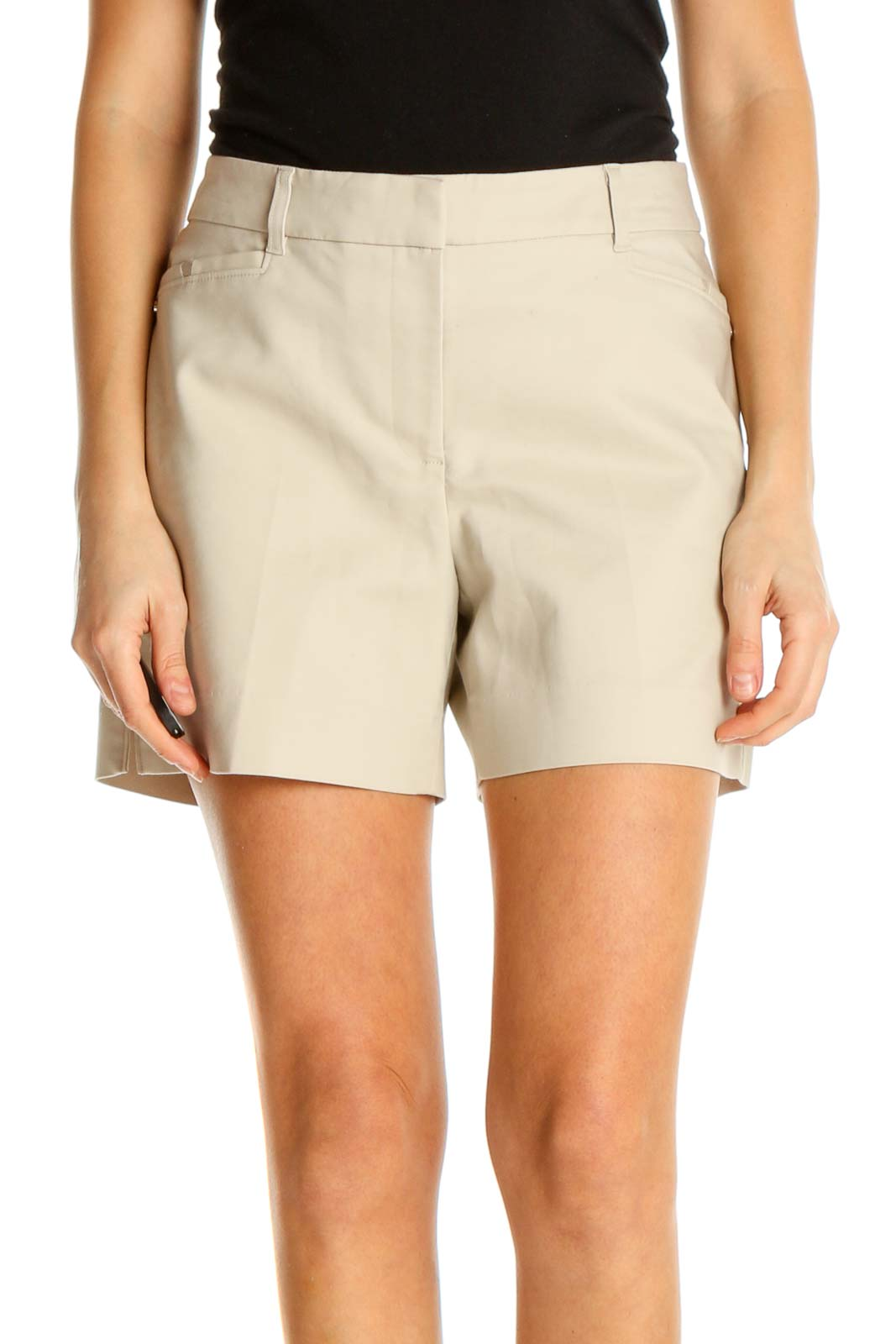 Beige Solid Casual Shorts Front
