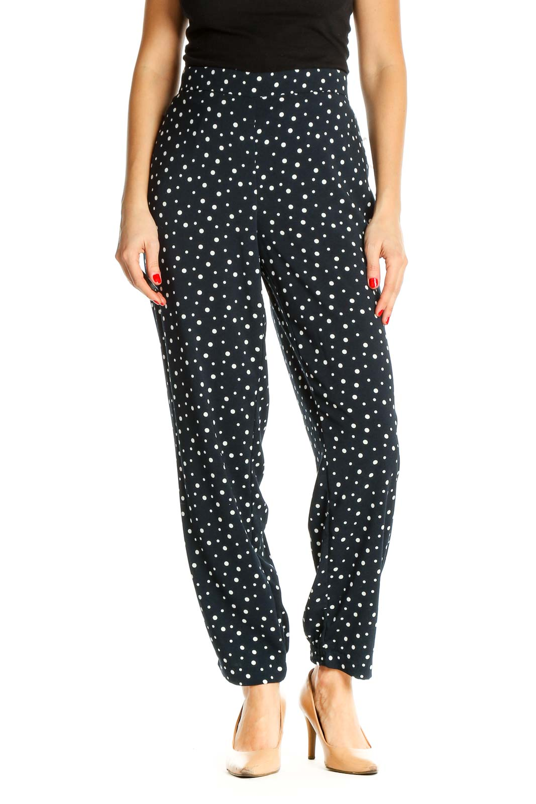 Blue Printed Retro Trousers Front