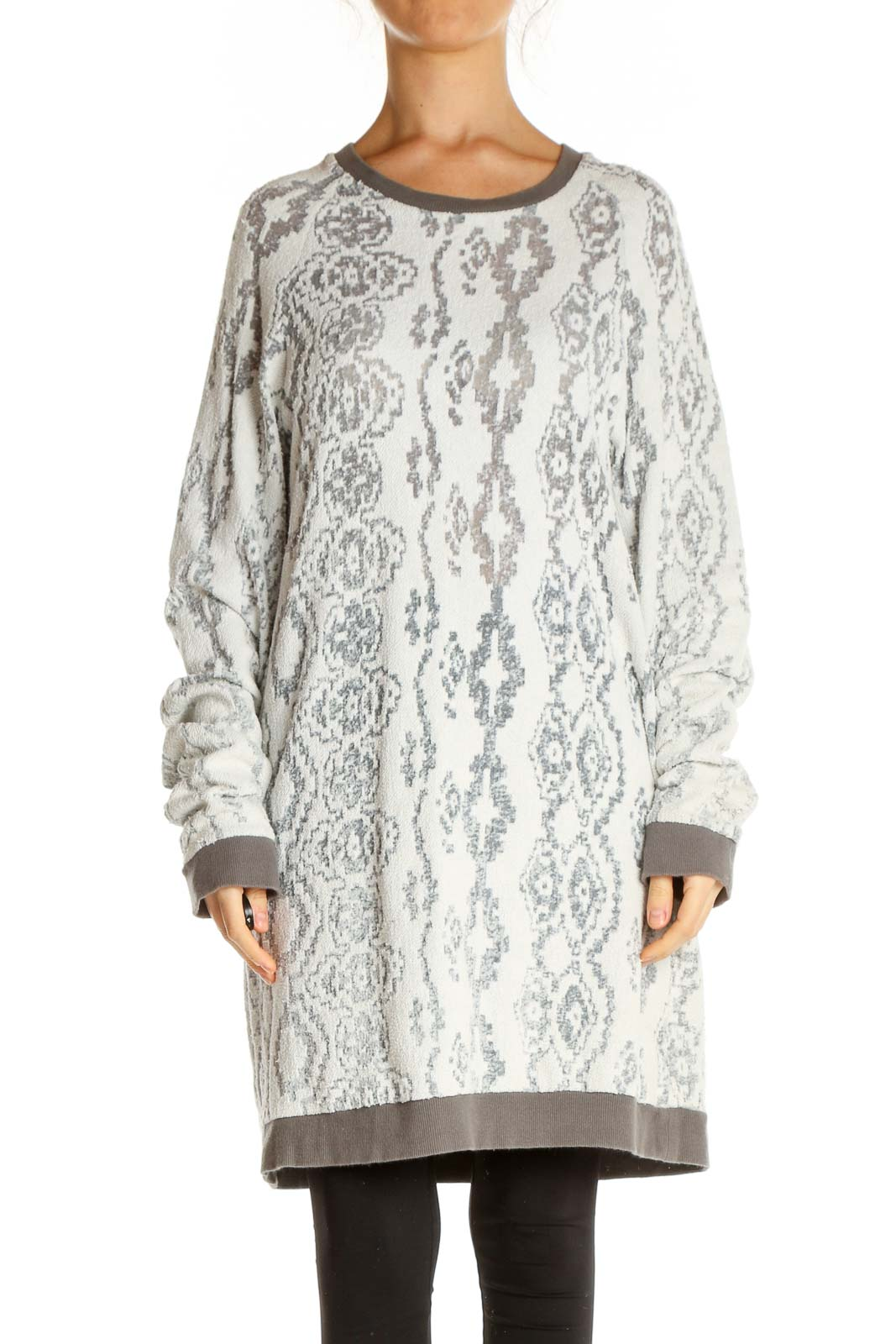 White Texture Casual Day Shift Dress Front