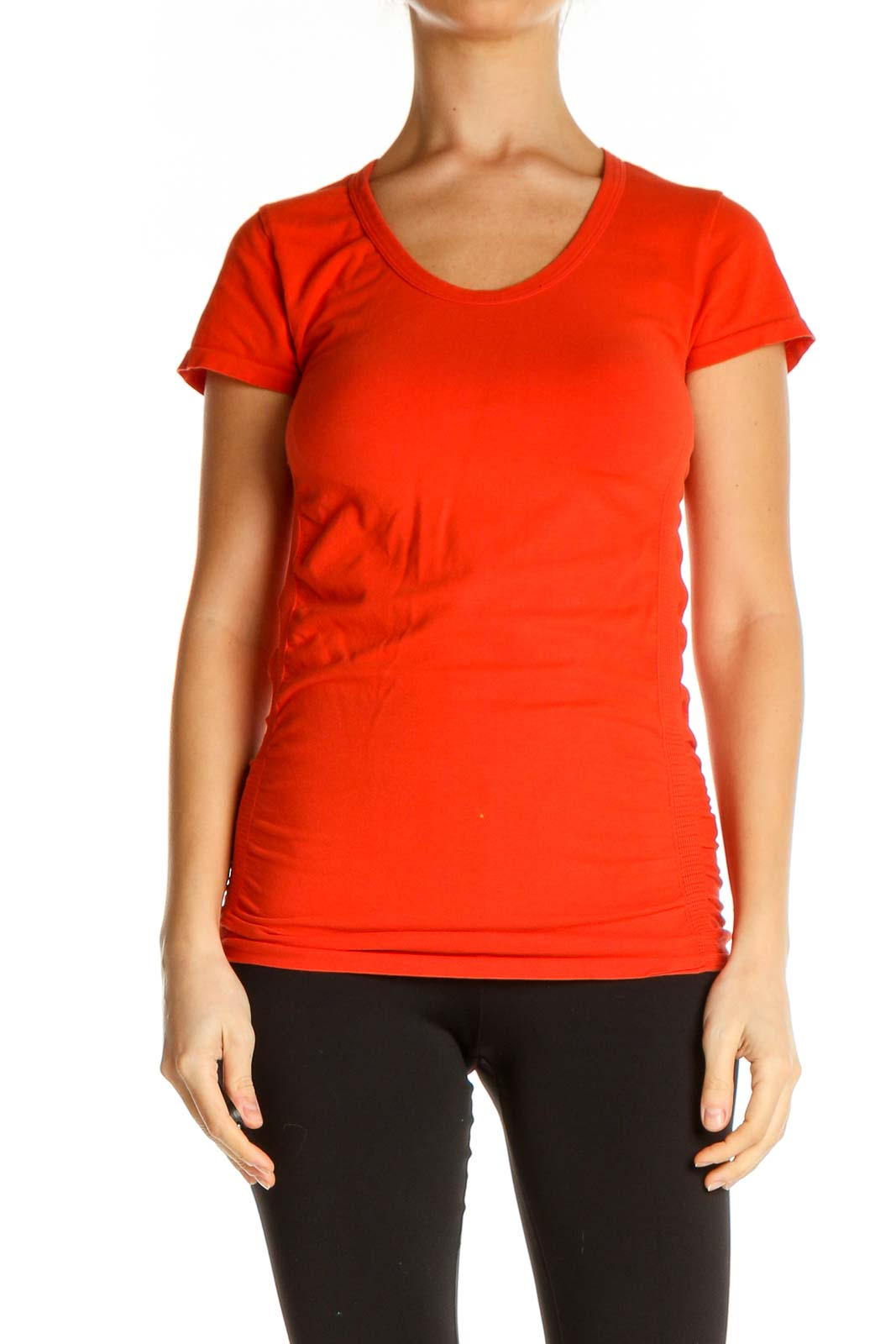Red Solid Casual T-Shirt Front