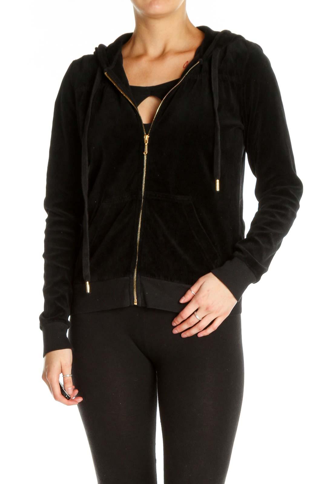 Black Windbreaker Jacket Front