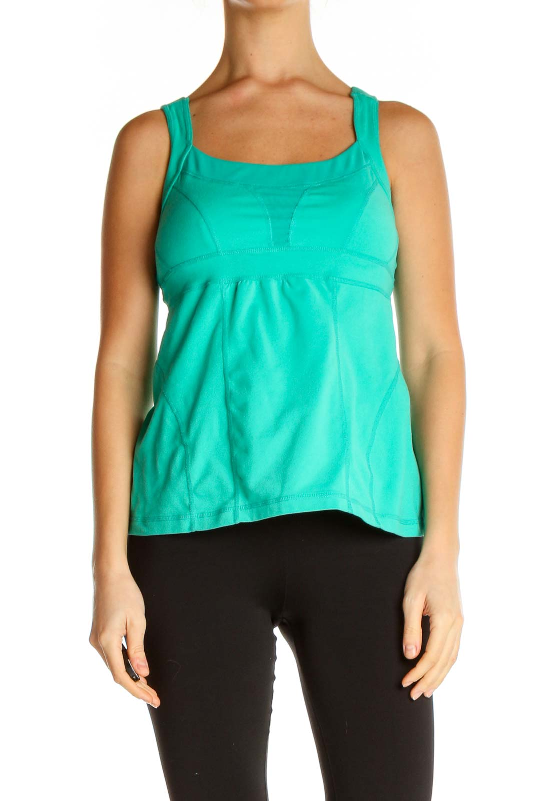 Green Solid Activewear Tank Top Front
