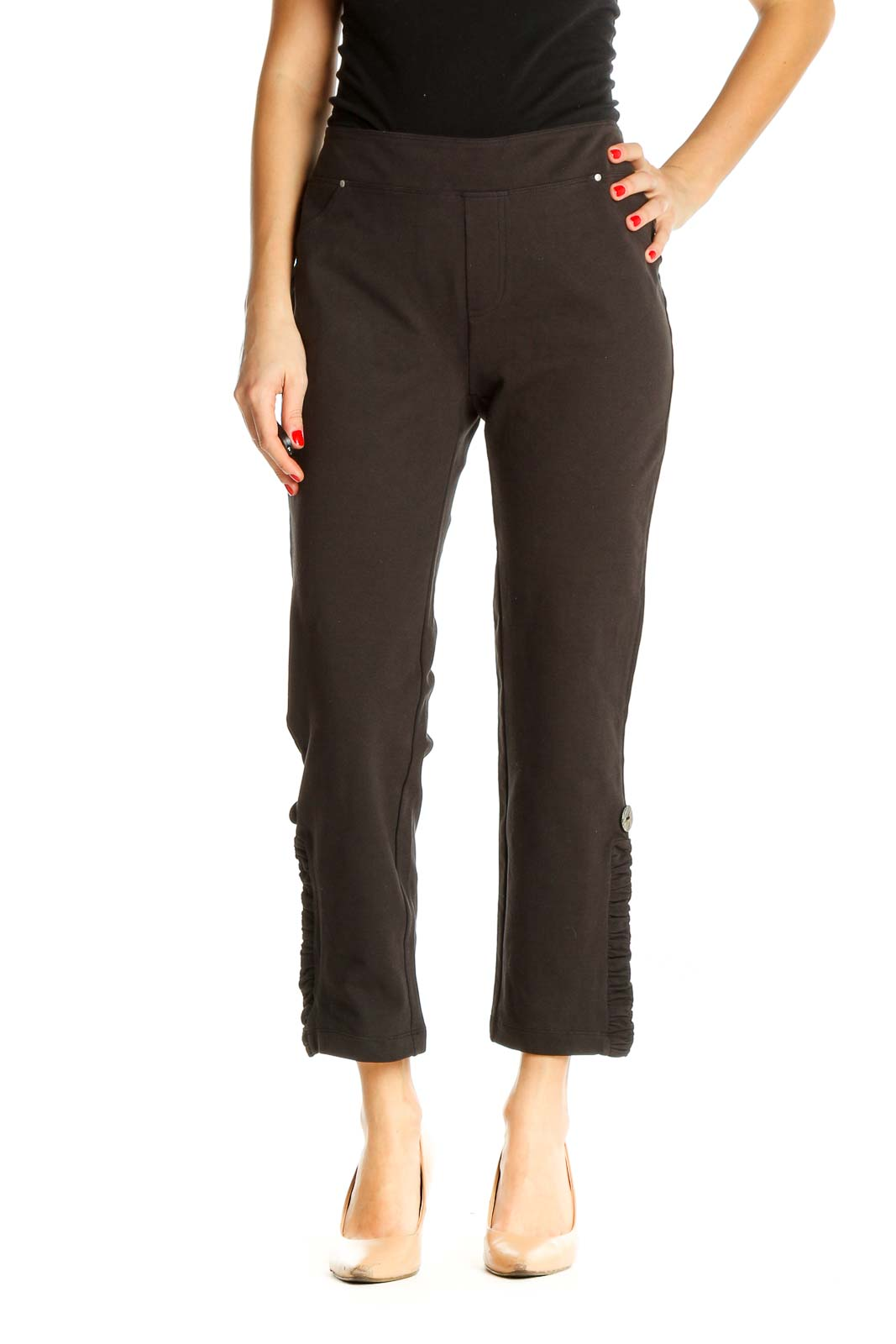 Brown Solid All Day Wear Capri Pants Front