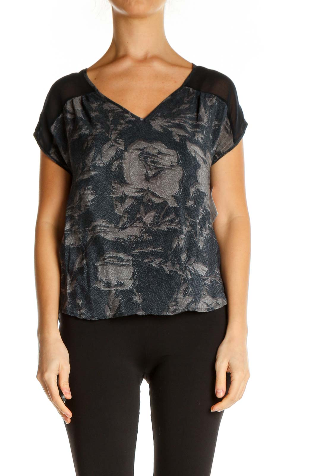 Gray Printed Casual T-Shirt Front