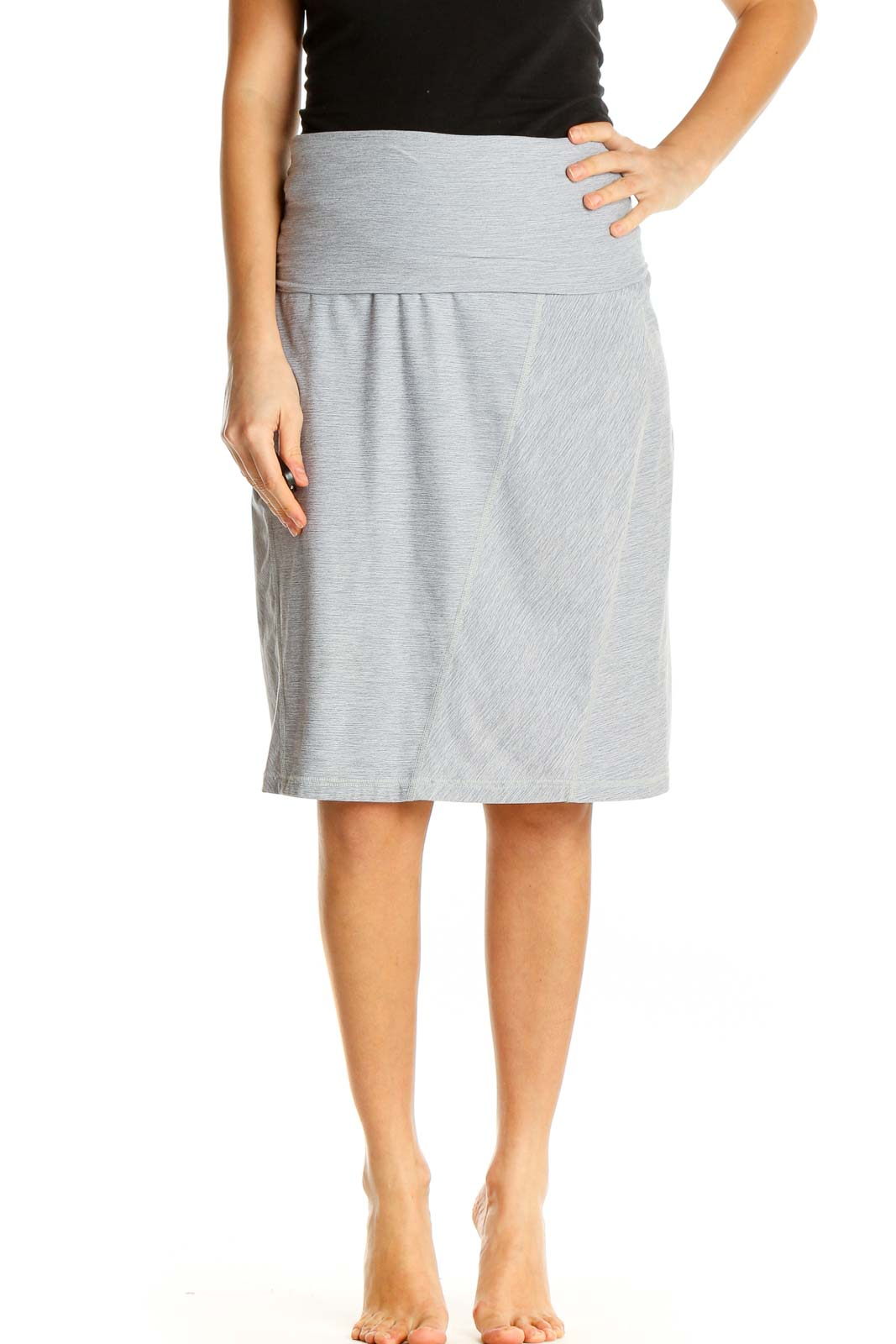 White Textured All Day Wear Pencil Skirt Front
