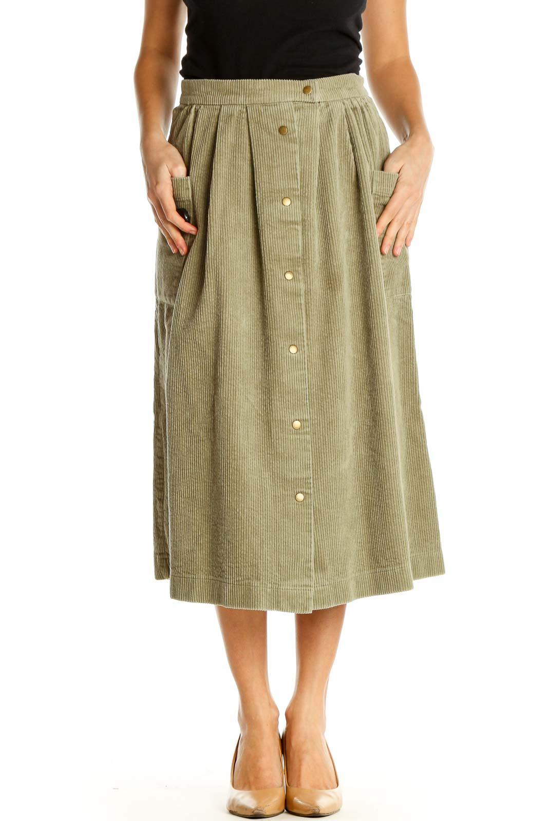 Brown Solid Holiday Flared Skirt Front
